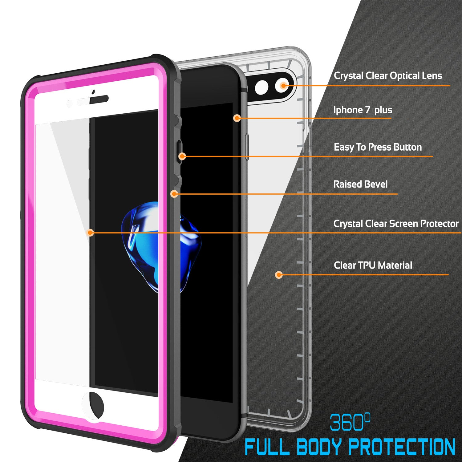 iPhone 7+ Plus Waterproof Case, PUNKcase CRYSTAL Pink W/ Attached Screen Protector  | Warranty