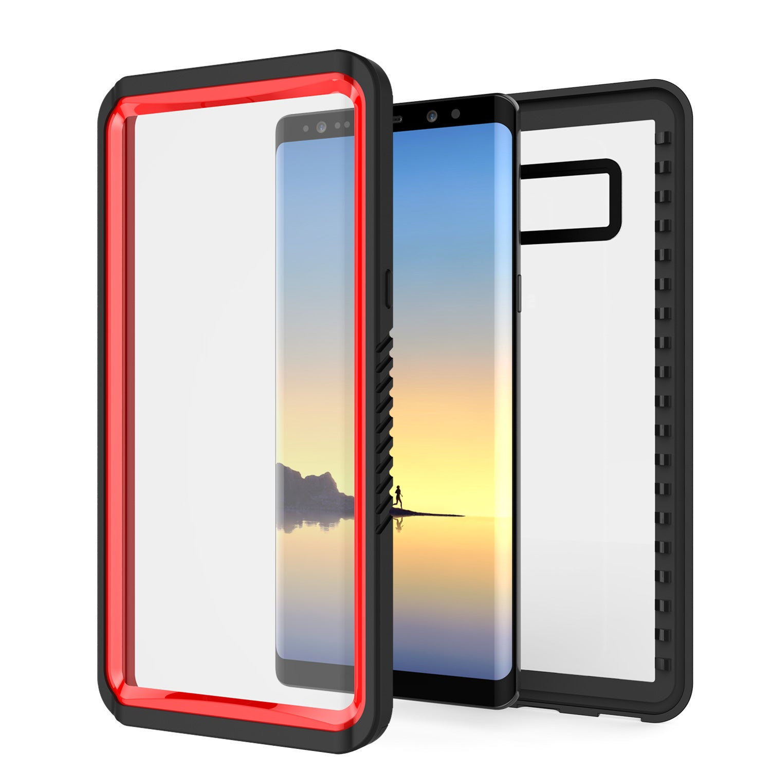 Galaxy Note 8 Anti-Shock Screen Protector Slim-Fit Case [Red]
