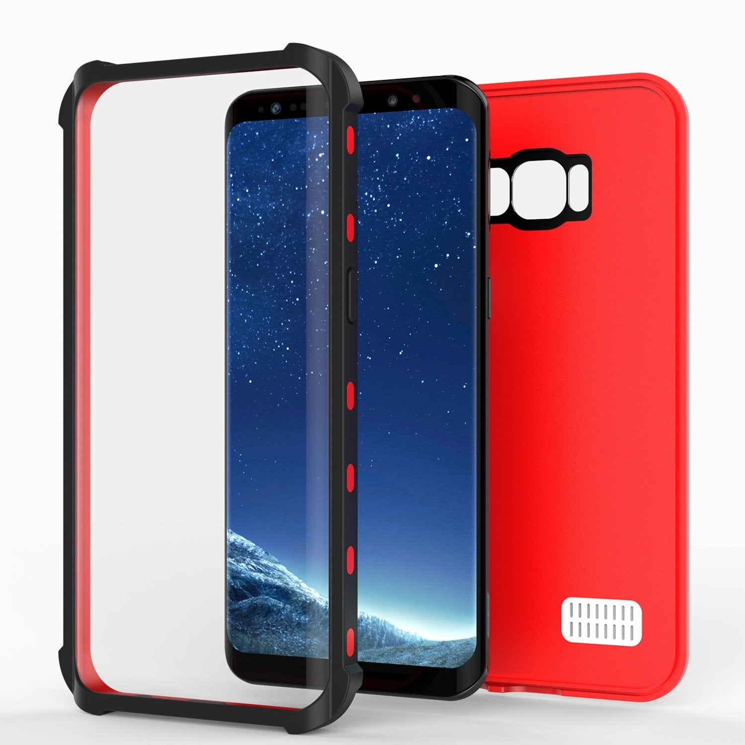 Galaxy S8 Plus Waterproof Case, Punkcase [KickStud Series] [Slim Fit] [IP68 Certified] [Shockproof] [Snowproof] Armor Cover [RED]