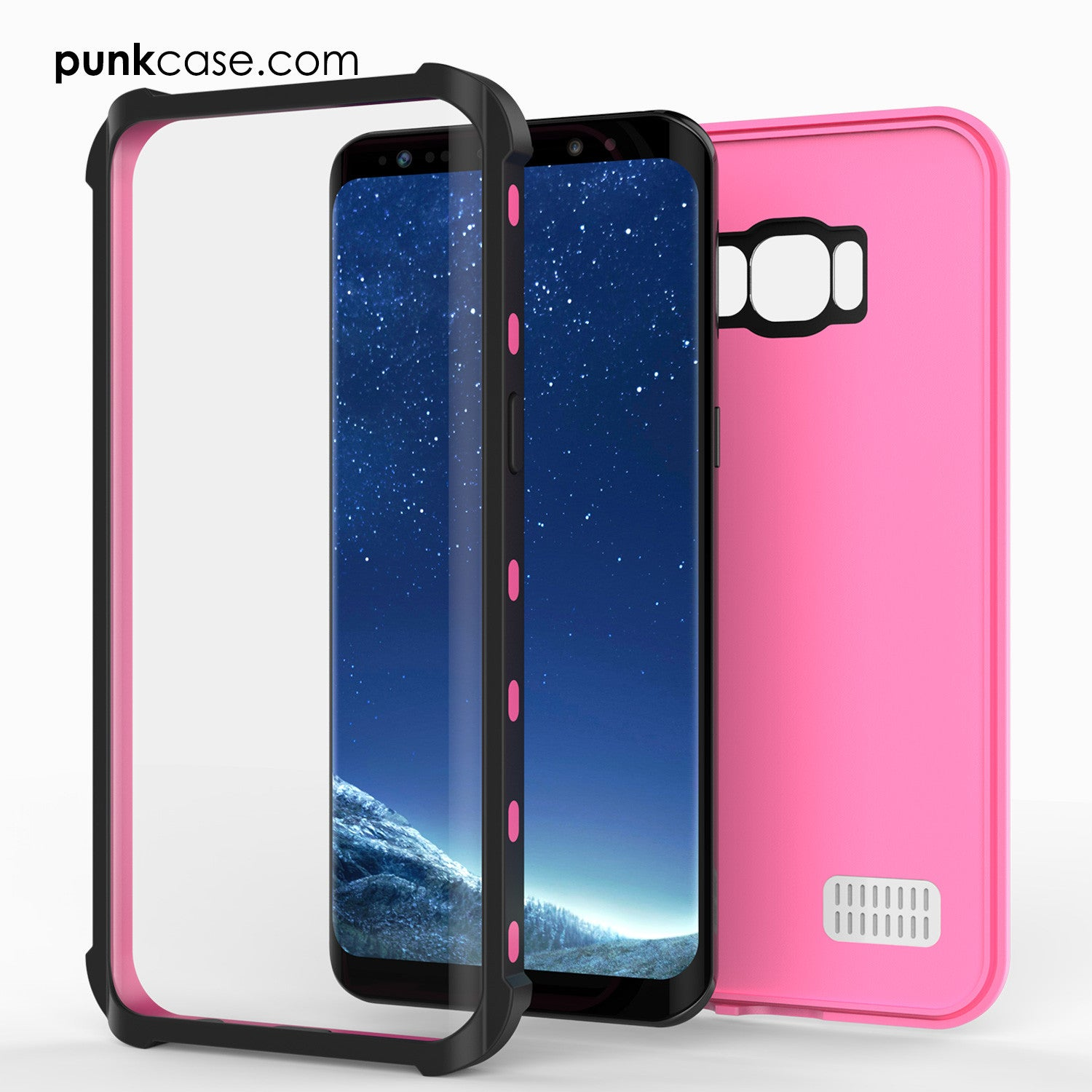 Galaxy S8 Waterproof Case, Punkcase [KickStud Series] [Slim Fit] [IP68 Certified] [Shockproof] [Snowproof] Armor Cover [PINK]