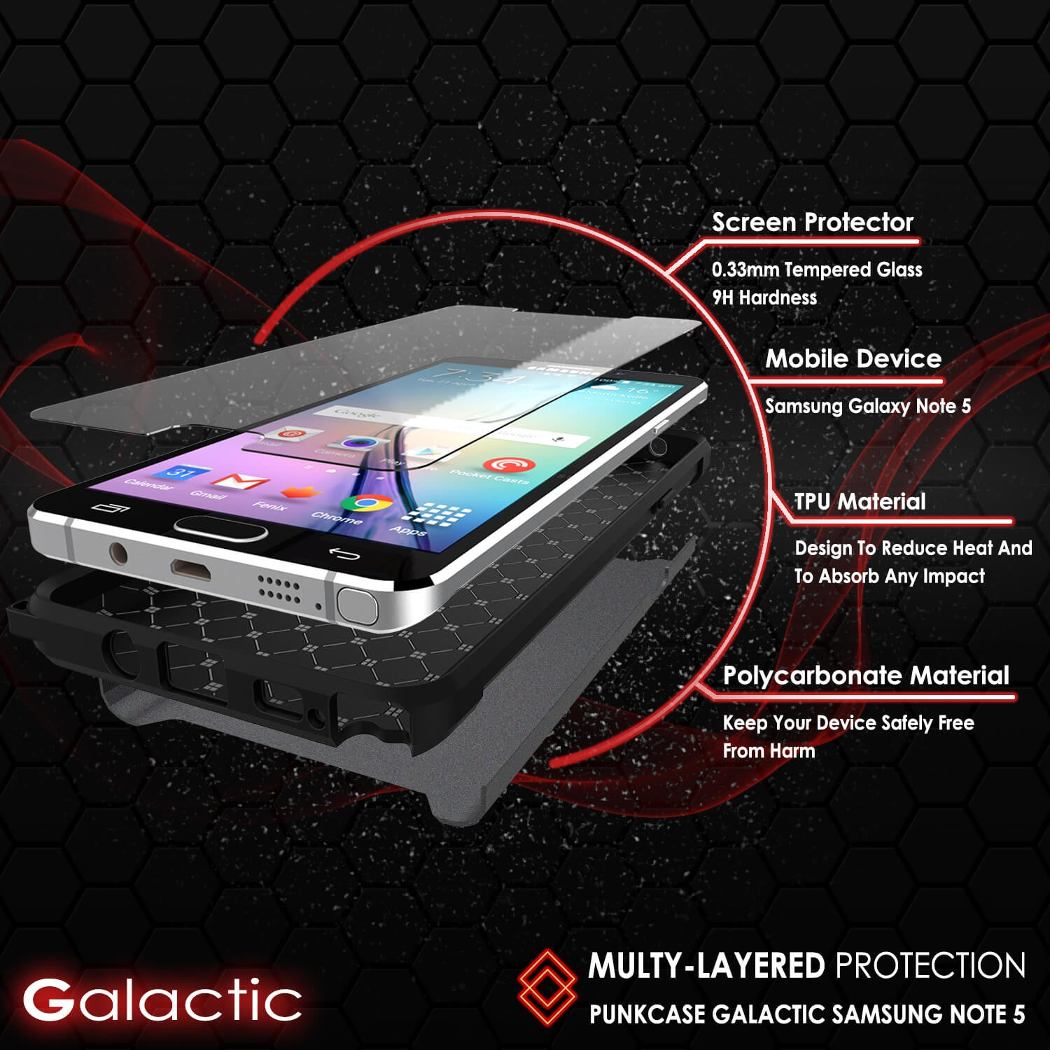 Galaxy Note 5 Case PunkCase Galactic Black Series Slim Armor Soft Cover Case w/ Tempered Glass