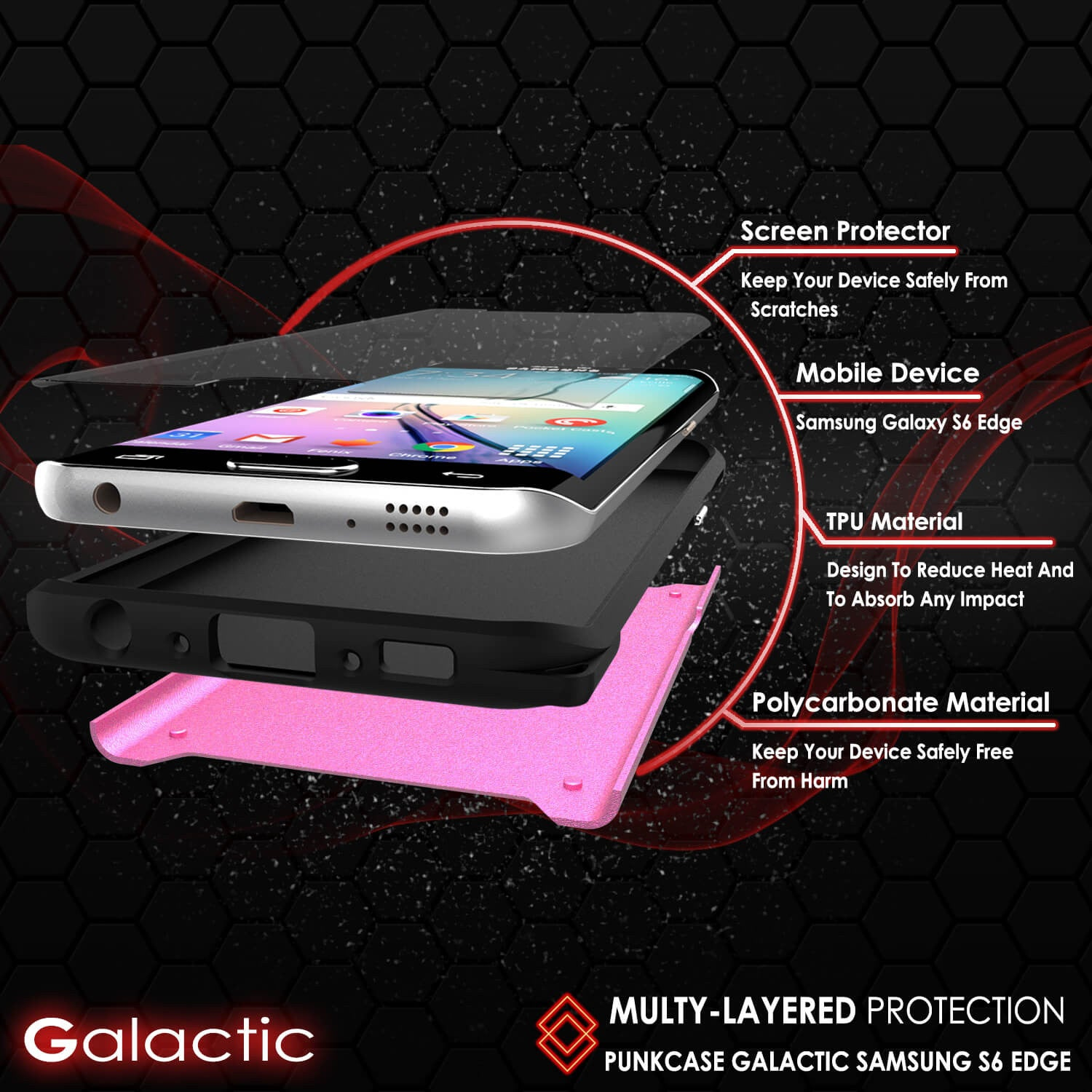Galaxy s6 EDGE Case PunkCase Galactic Pink Series Slim Armor Soft Cover w/ Screen Protector