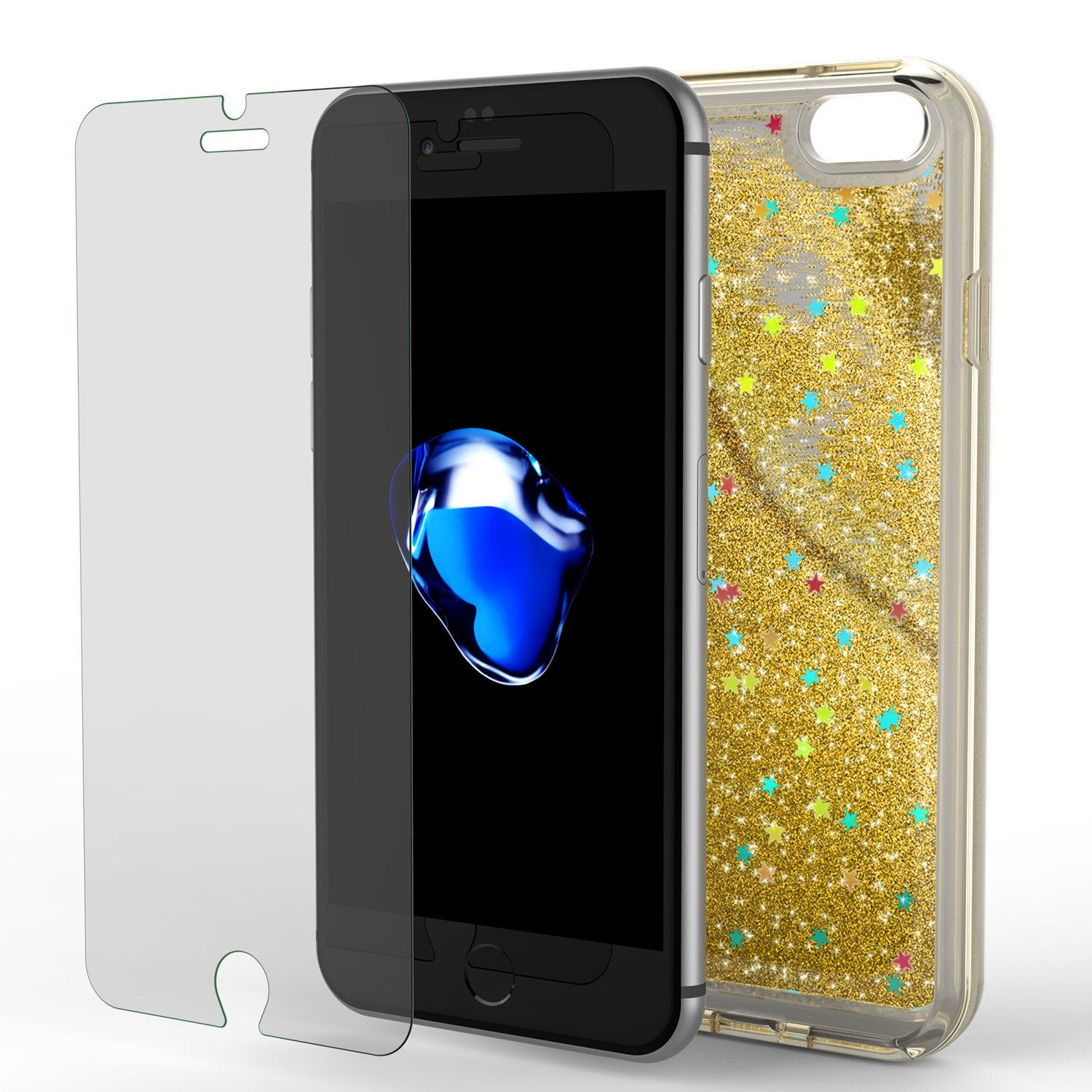 iPhone 8 Case, PunkCase LIQUID Gold Series, Protective Dual Layer Floating Glitter Cover