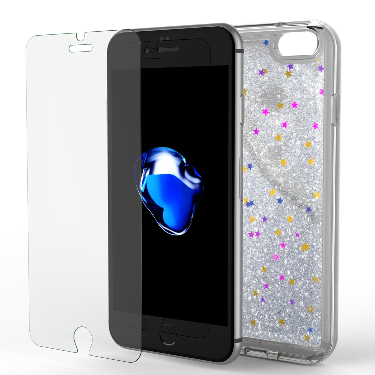 iPhone 7 Case, PunkCase LIQUID Silver Series, Protective Dual Layer Floating Glitter Cover