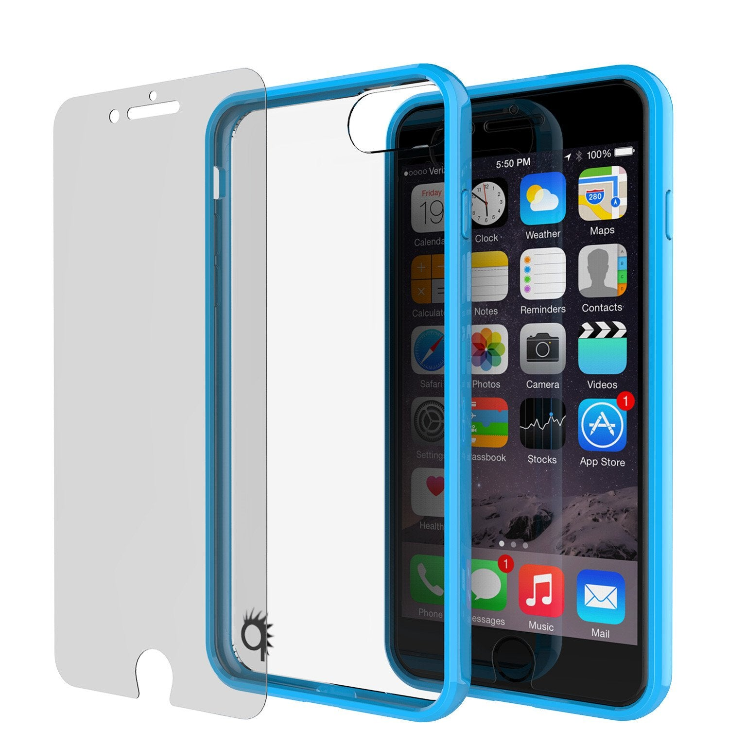 iPhone 8 Case Punkcase® LUCID 2.0 Light Blue Series w/ PUNK SHIELD Screen Protector | Ultra Fit