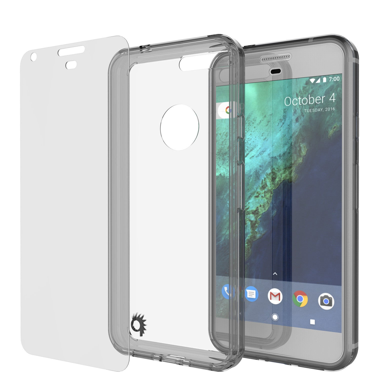 Google Pixel XL Case Punkcase® LUCID 2.0 Crystal Black Series w/ PUNK SHIELD Glass Screen Protector | Ultra Fit