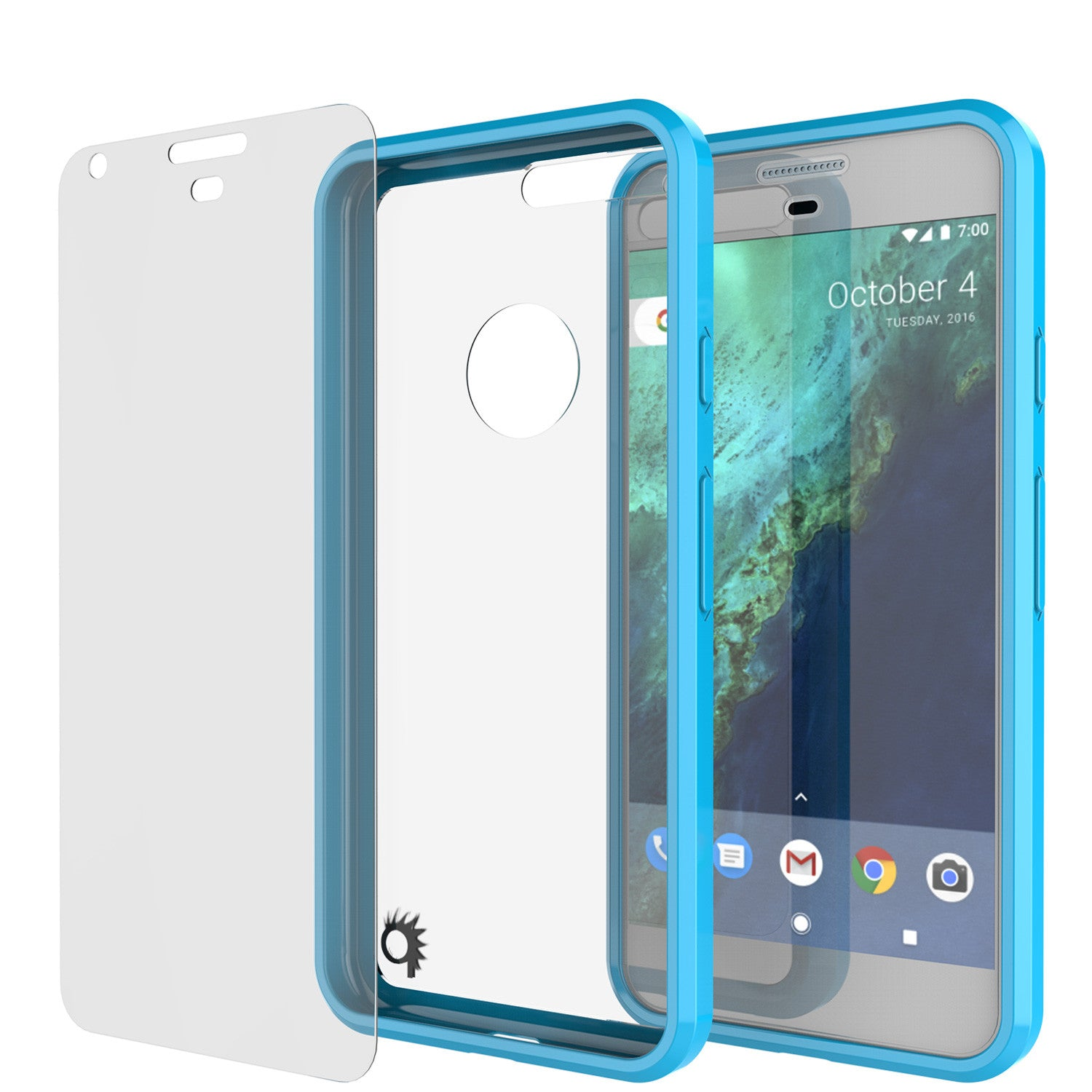 Google Pixel Case Punkcase® LUCID 2.0 Light Blue Series w/ PUNK SHIELD Glass Screen Protector | Ultra Fit