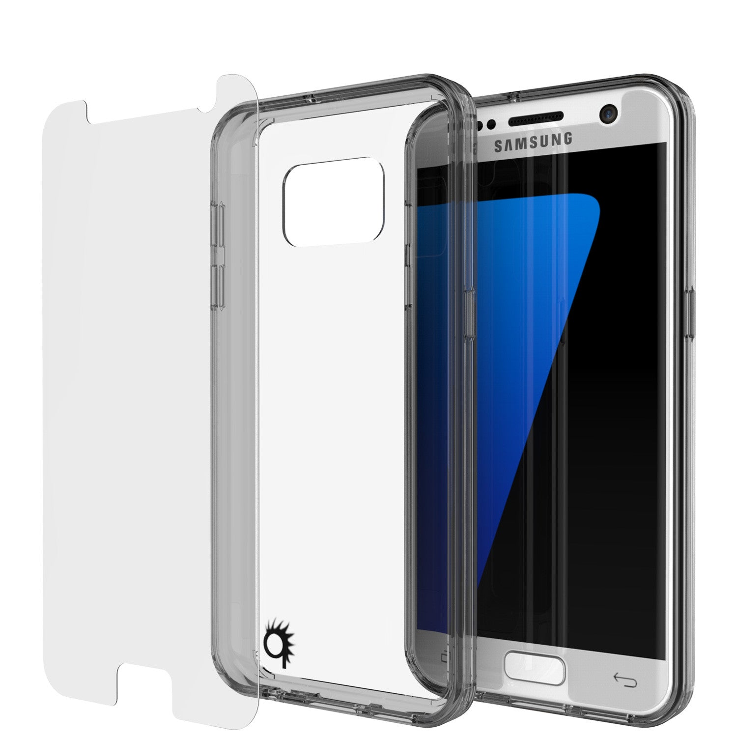 S7 Case Punkcase® LUCID 2.0 Crystal Black Series w/ PUNK SHIELD Glass Screen Protector | Ultra Fit