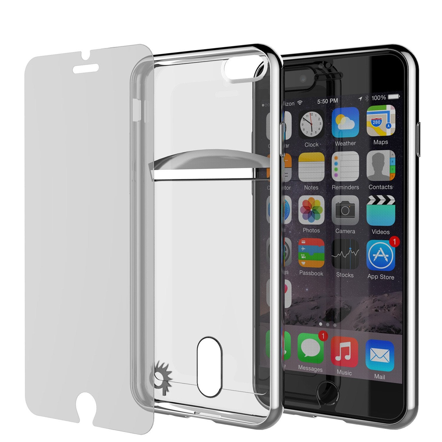 iPhone 8+ Plus Case, PUNKCASE® LUCID Silver Series | Card Slot | SHIELD Screen Protector | Ultra fit