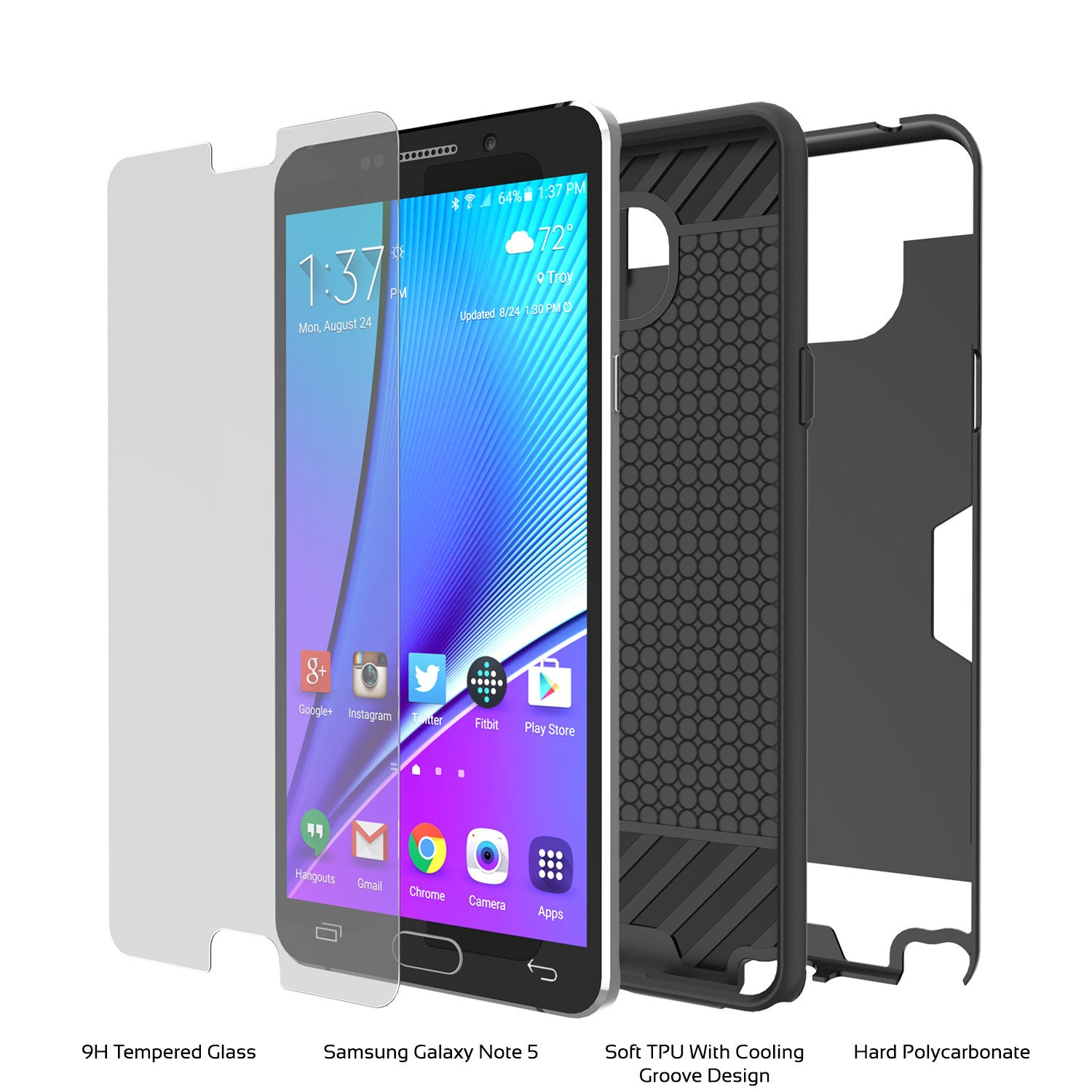 Galaxy Note 5 Case PunkCase SLOT Black Series Slim Armor Soft Cover Case w/ Tempered Glass