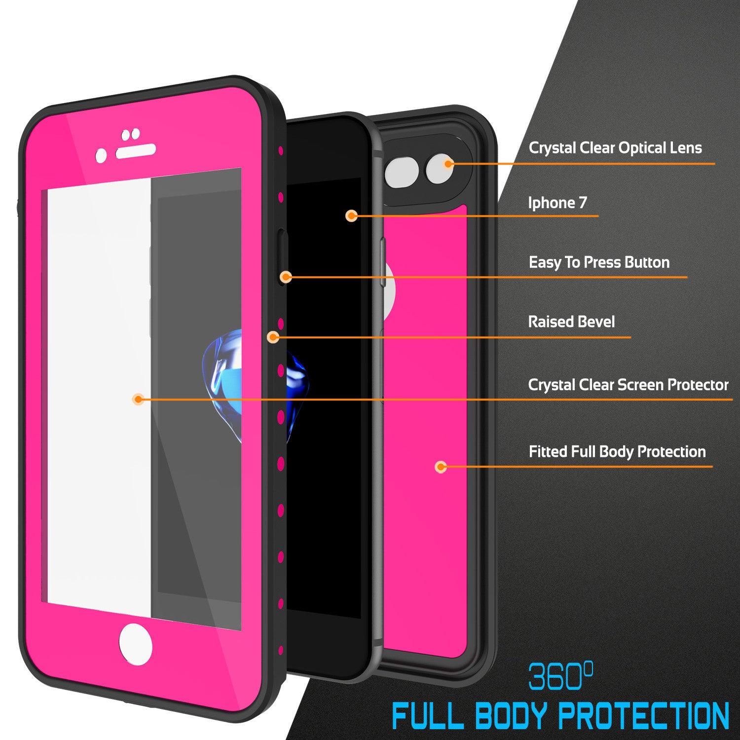 iPhone 7 Waterproof IP68 Case, Punkcase [Pink] [StudStar Series] [Slim Fit] [Dirtproof] [Snowproof]