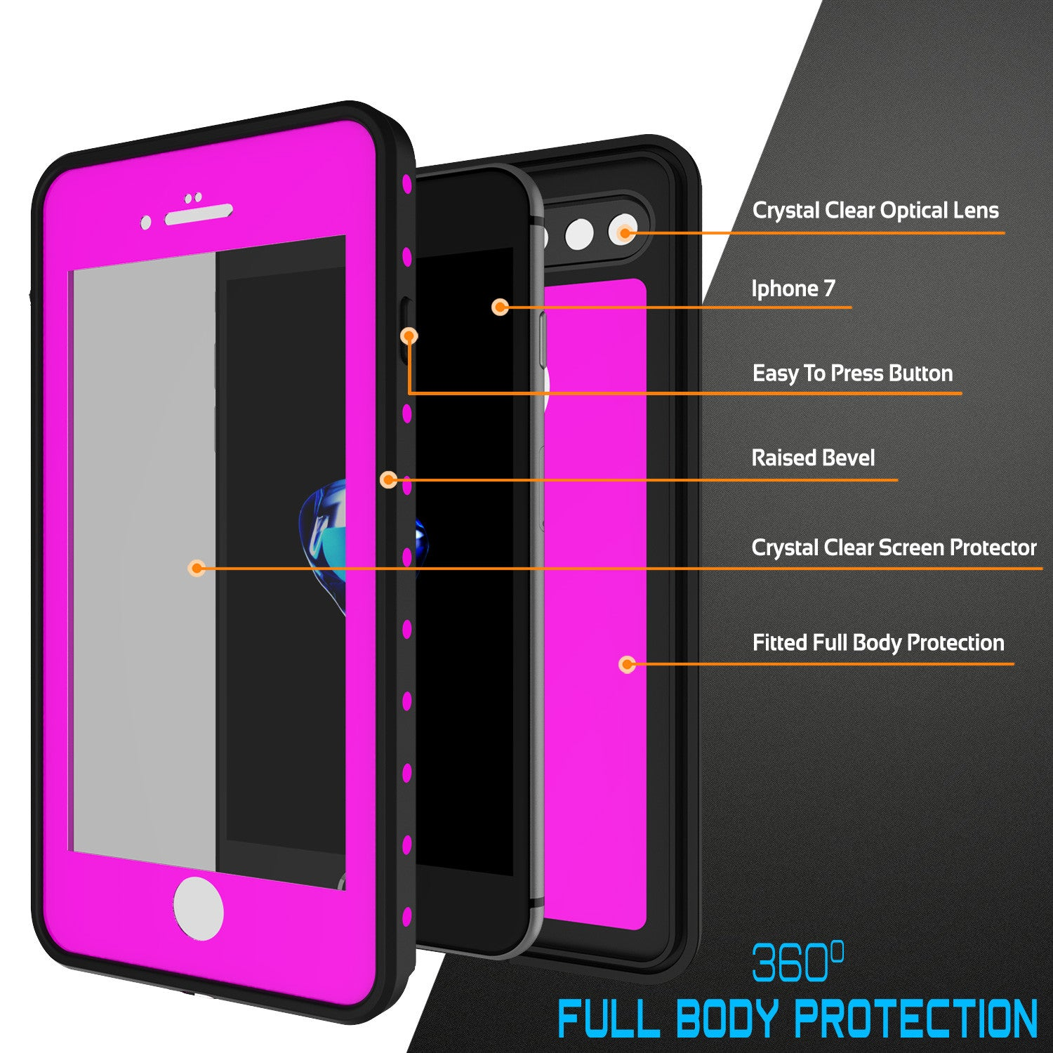 iPhone 7+ Plus Waterproof IP68 Case, Punkcase [Pink] [StudStar Series] [Slim Fit] [Dirtproof]