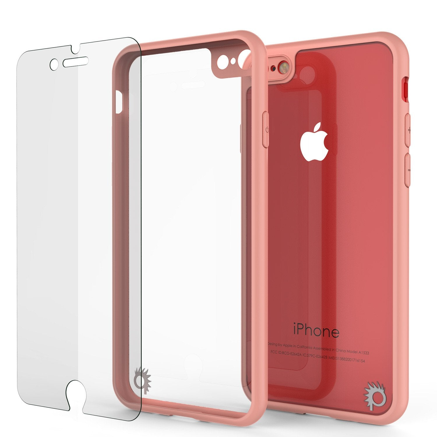 iPhone 8 Case [MASK Series] [PINK] Full Body Hybrid Dual Layer TPU Cover W/ protective Tempered Glass Screen Protector