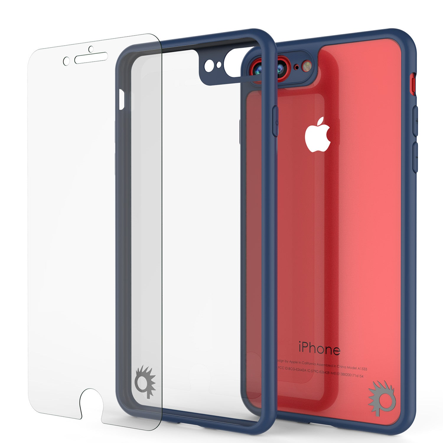 iPhone 7+ Plus Case [MASK Series] [NAVY] Full Body Hybrid Dual Layer TPU Cover W/ protective Tempered Glass Screen Protector