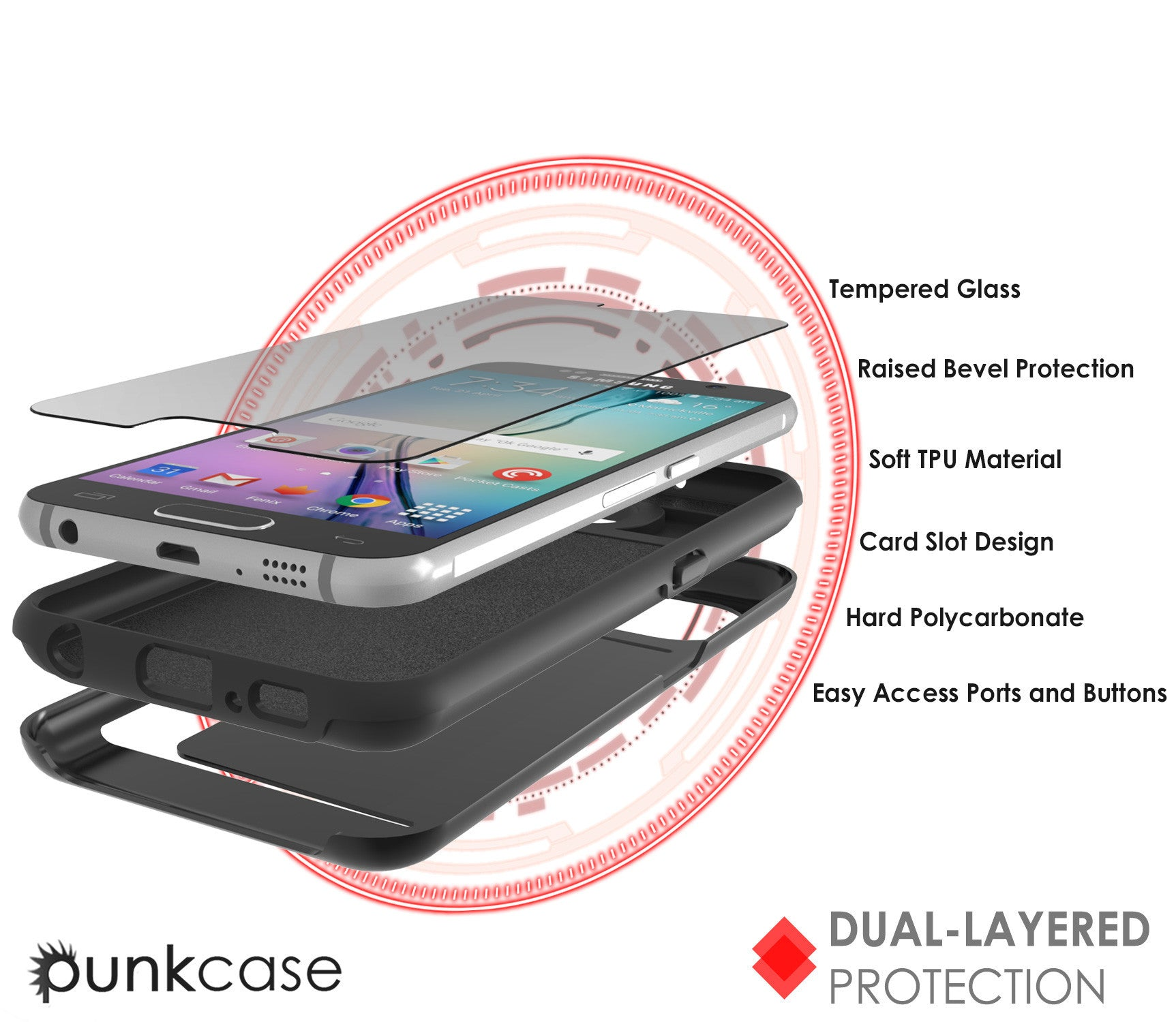 Galaxy S6 EDGE Case PunkCase CLUTCH Black Series Slim Armor Soft Cover Case w/ Screen Protector