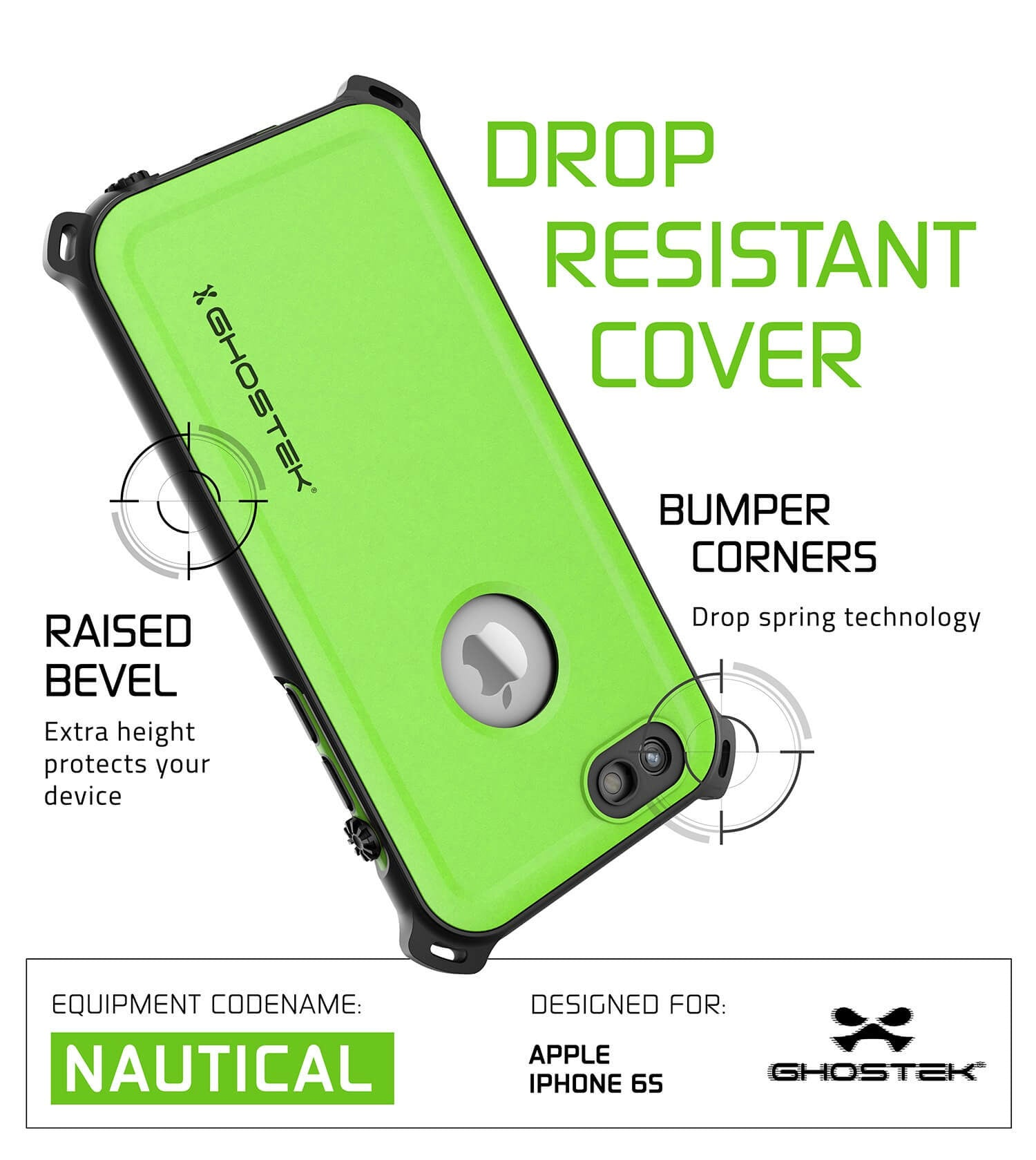 iPhone 6S/6 Waterproof Case, Ghostek® Nautical Green Series| Underwater | Aluminum Frame | Ultra Fit