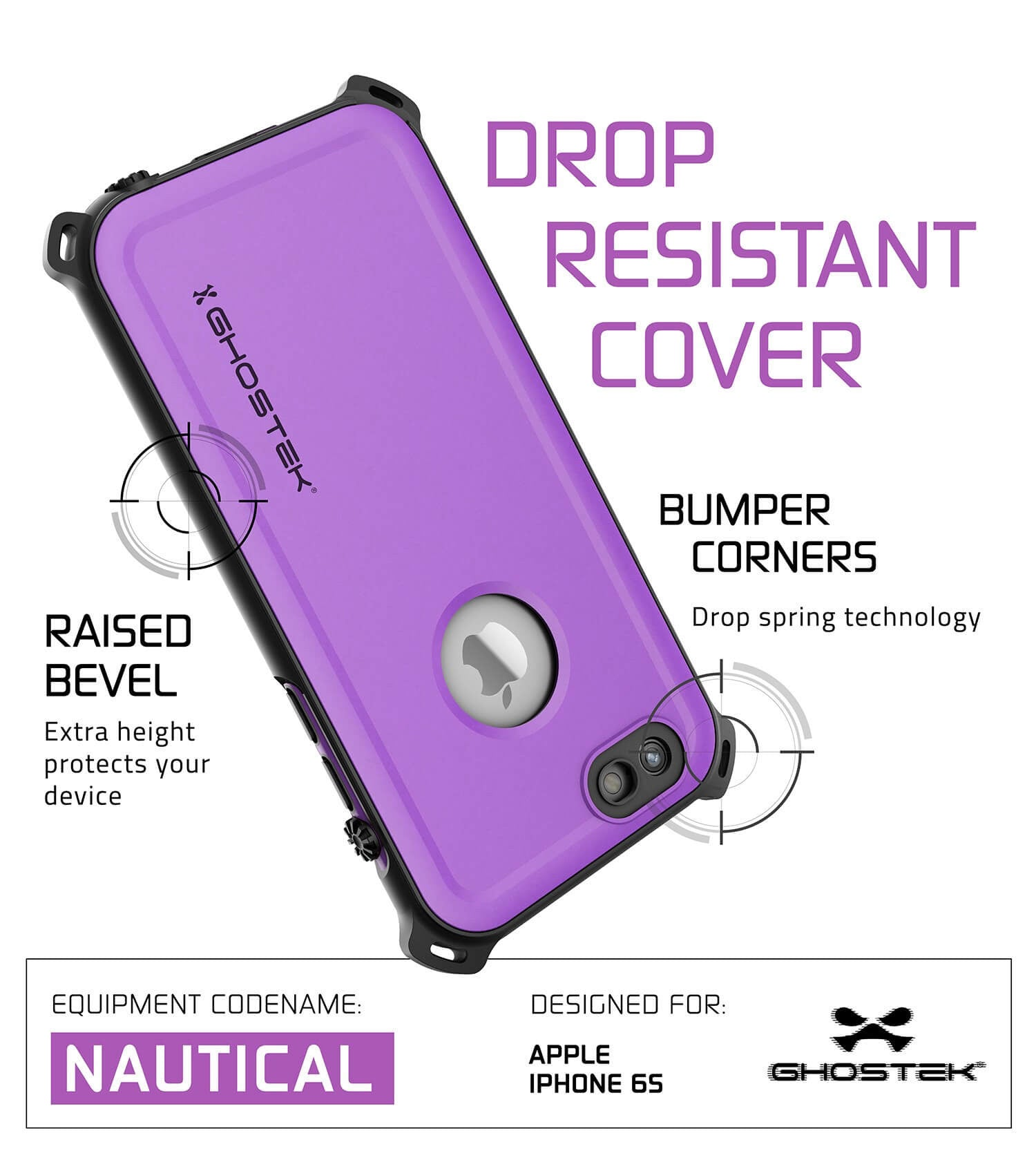 iPhone 6S/6 Waterproof Case, Ghostek® Nautical Purple Series| Underwater | Aluminum Frame