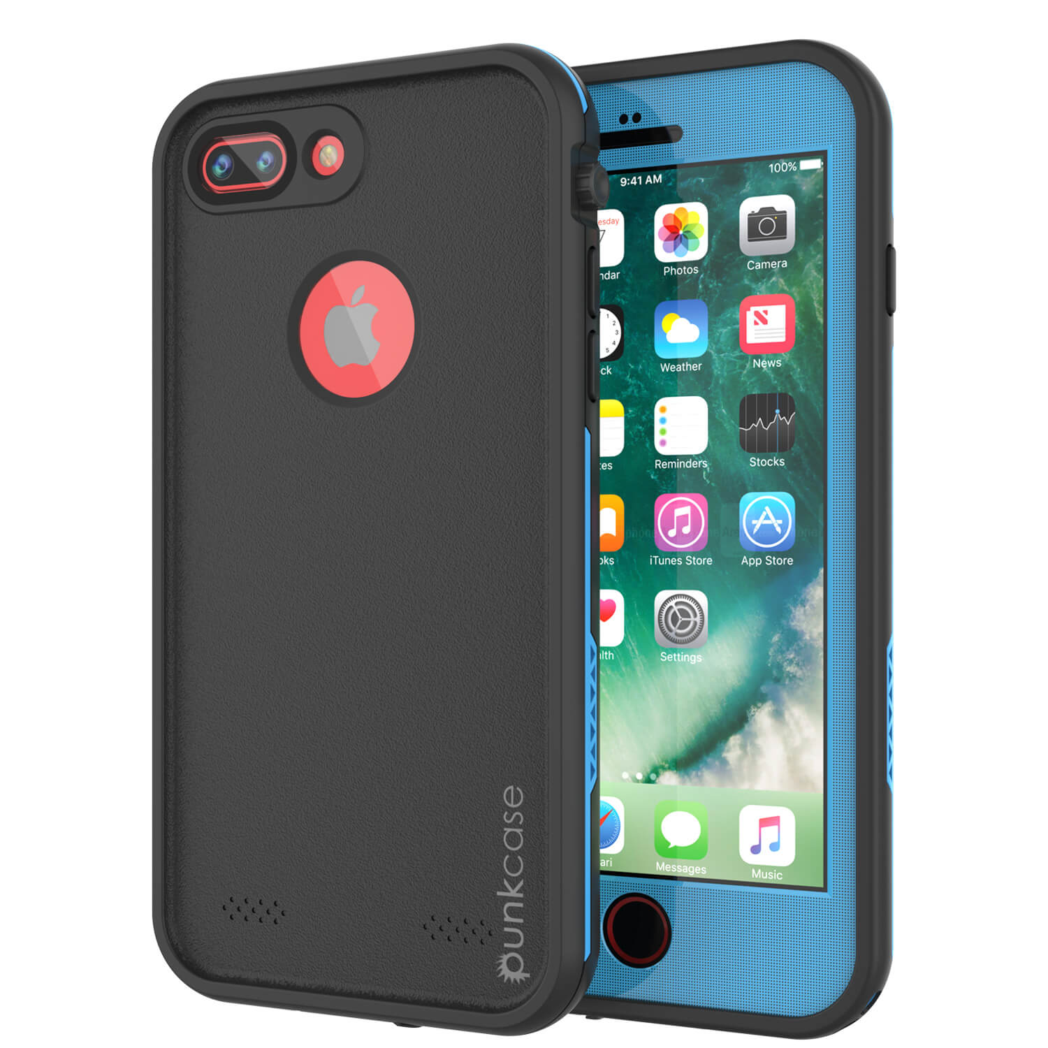 iPhone 7+ Plus Waterproof Case, Punkcase SpikeStar Light-Blue Series | Thin Fit 6.6ft Underwater IP68