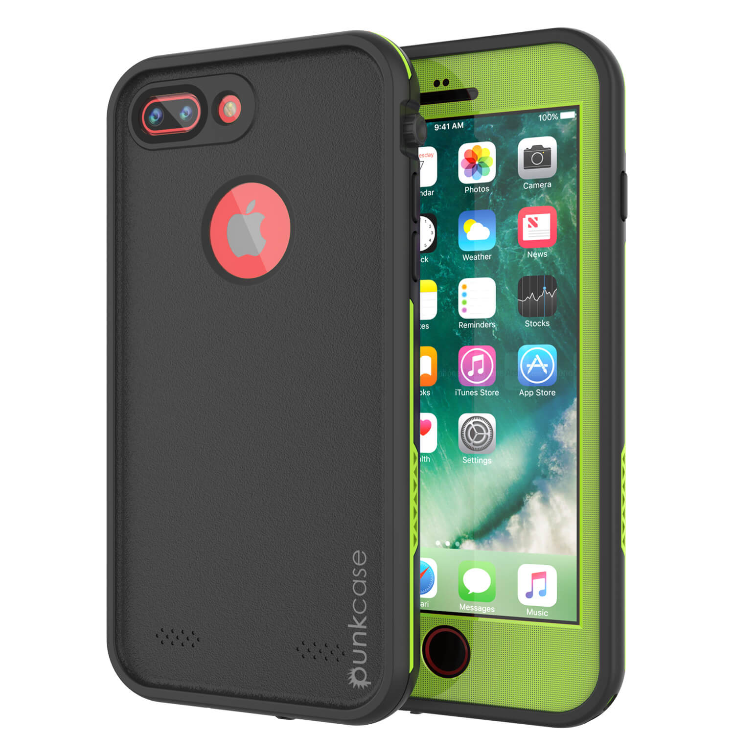 iPhone 7+ Plus Waterproof Case, Punkcase SpikeStar Light-Green Series | Thin Fit 6.6ft Underwater IP68