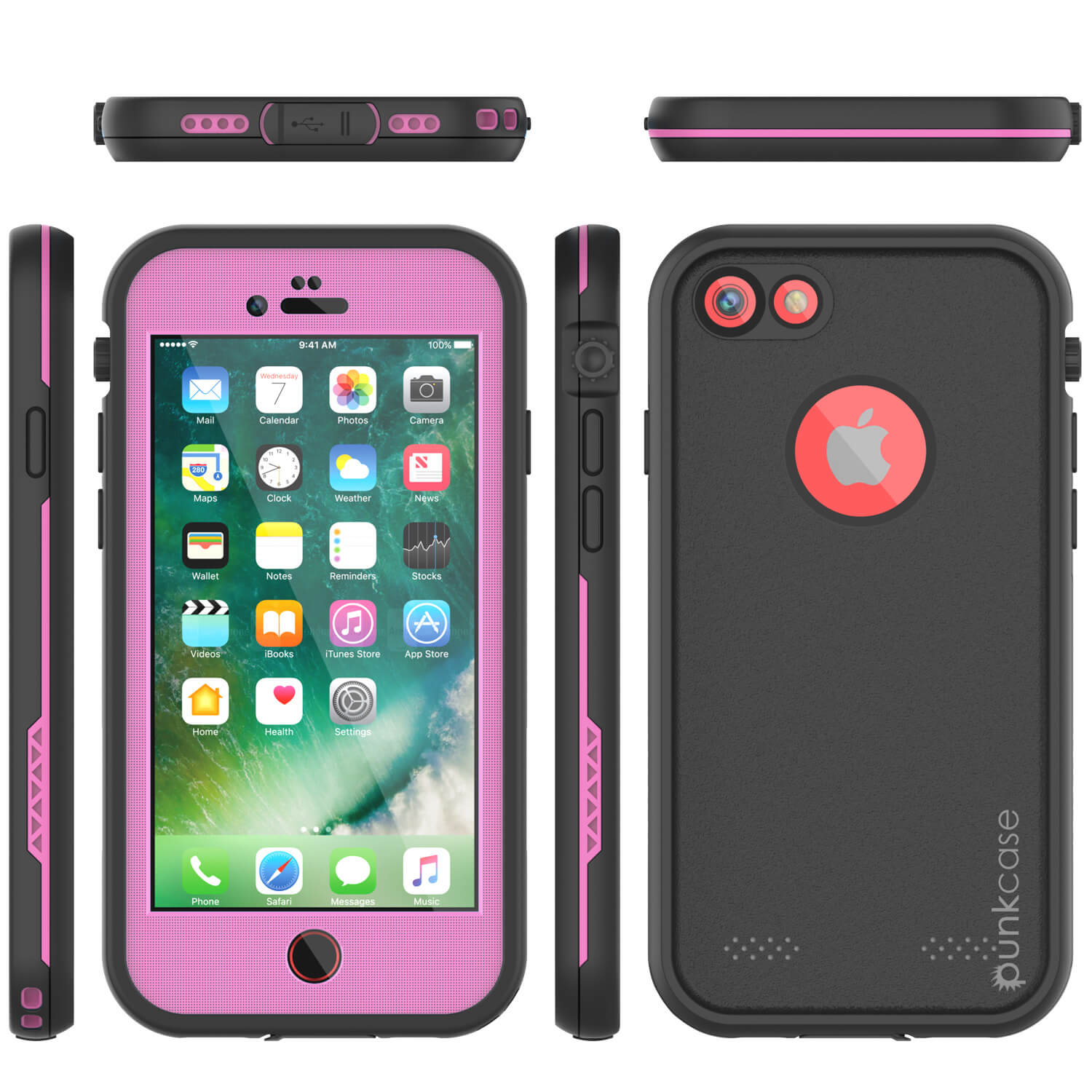 iPhone 7 Waterproof Case, Punkcase SpikeStar Pink Series | Thin Fit 6.6ft Underwater IP68