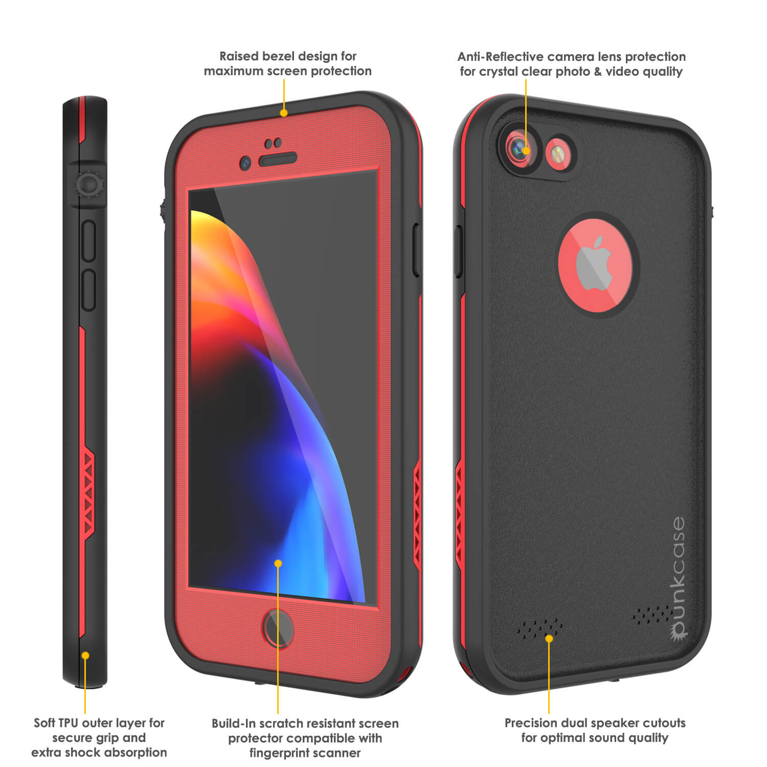 cheap for discount fffc0 afaca iPhone 8 Waterproof Case, Punkcase SpikeStar Red Series | Thin Fit 6.6