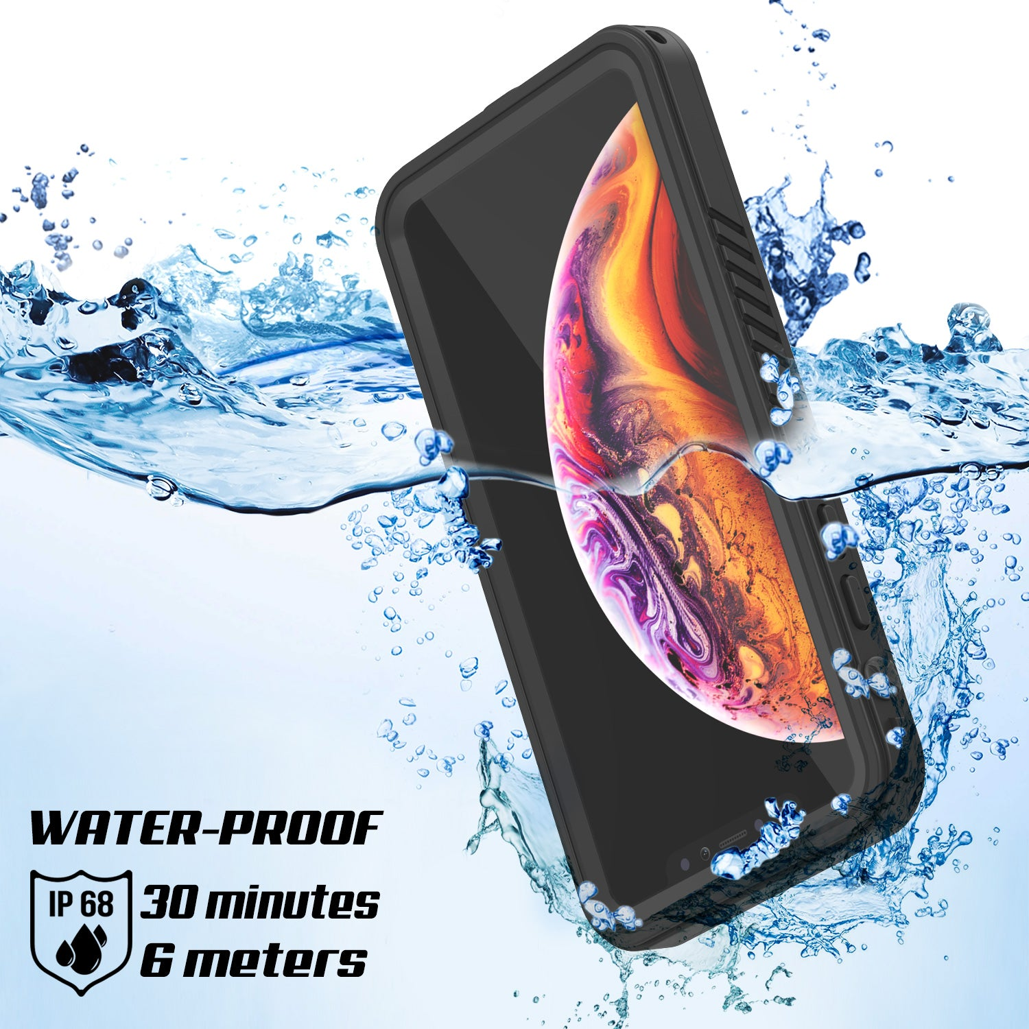 iPhone XR Waterproof Case, Punkcase [Extreme Series] Armor Cover W/ Built In Screen Protector [Black]
