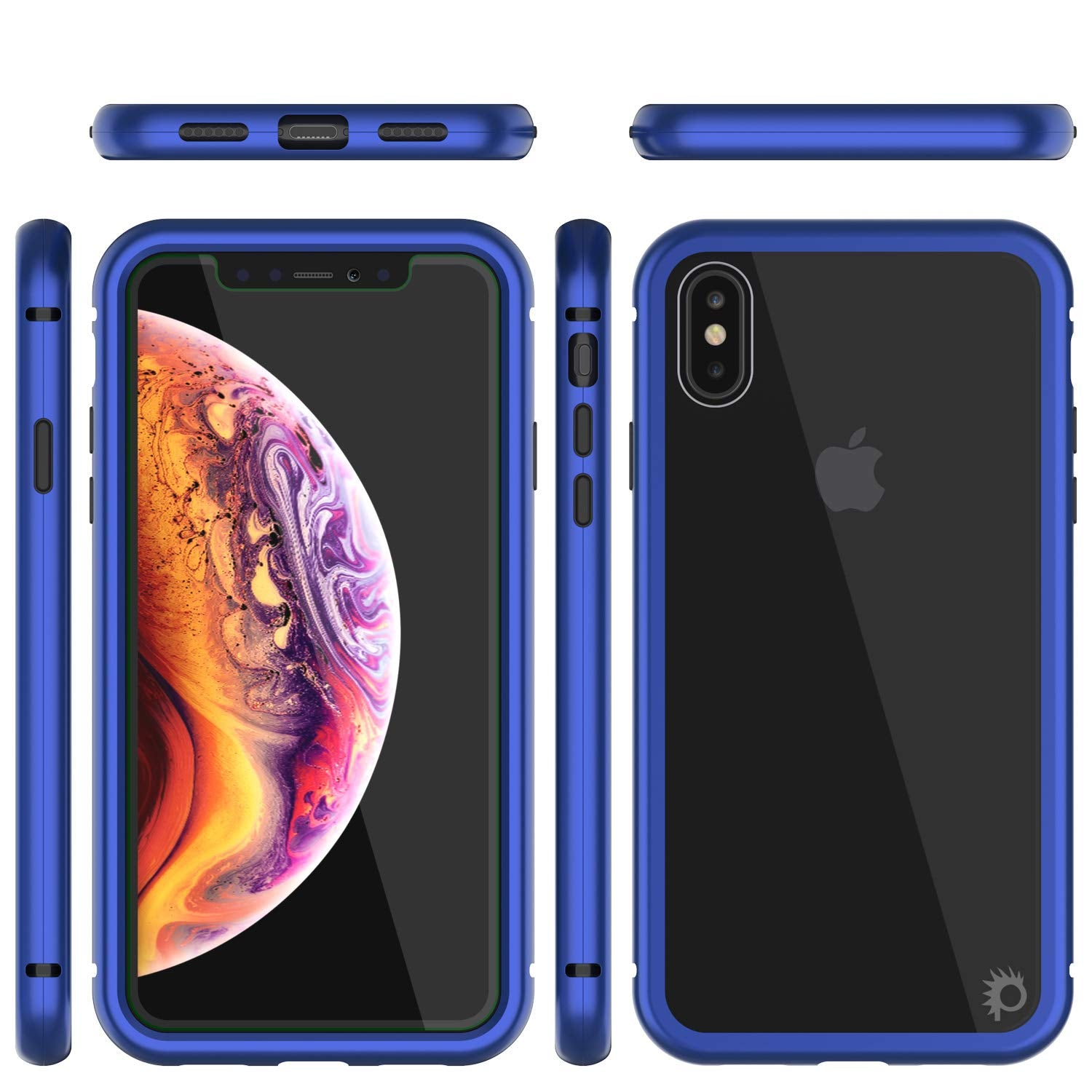 iPhone XS Max Case, Punkcase Magnetix 2.0 Protective TPU Cover W/ Tempered Glass Screen Protector [Blue]