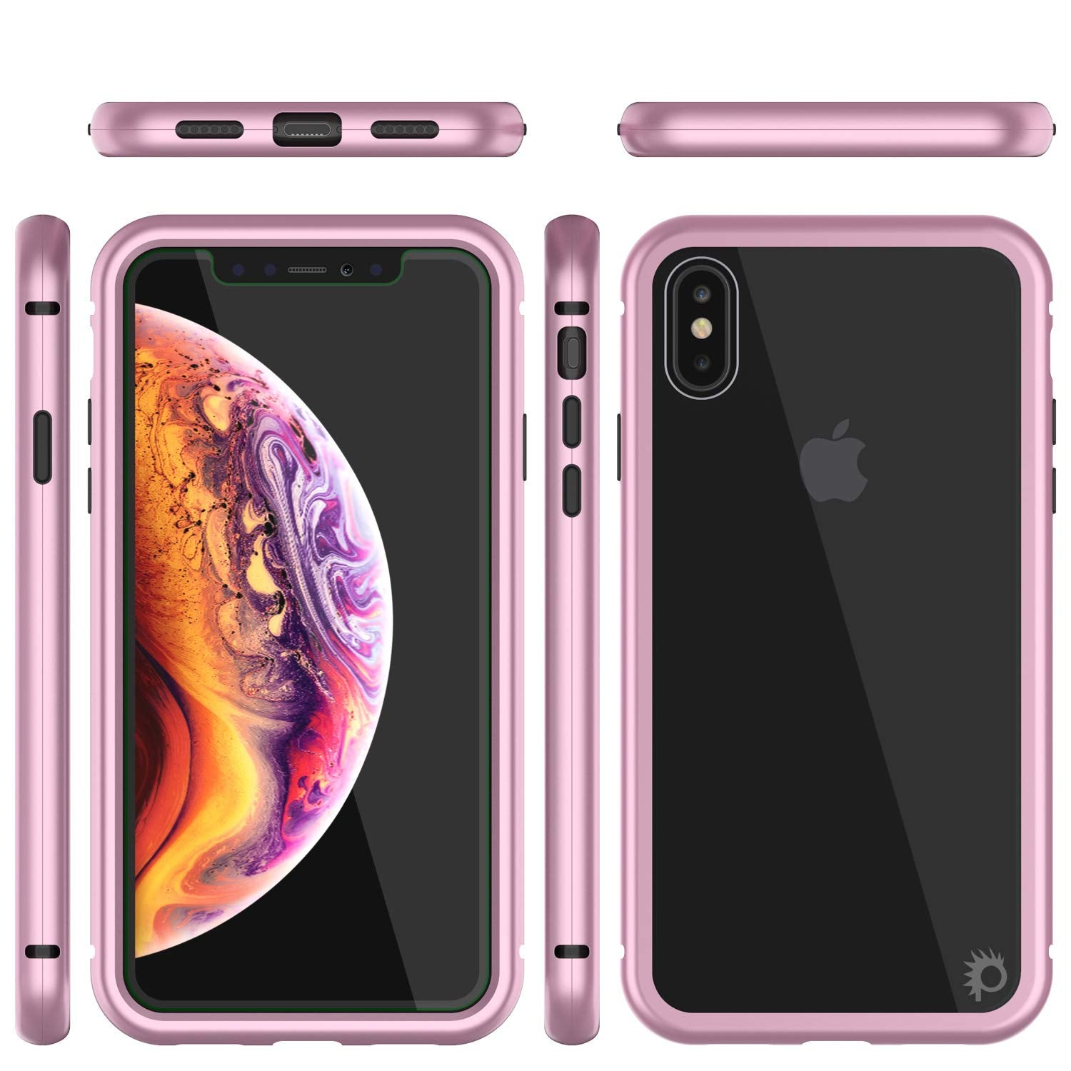 iPhone XS Max Case, Punkcase Magnetix 2.0 Protective TPU Cover W/ Tempered Glass Screen Protector [Pink]
