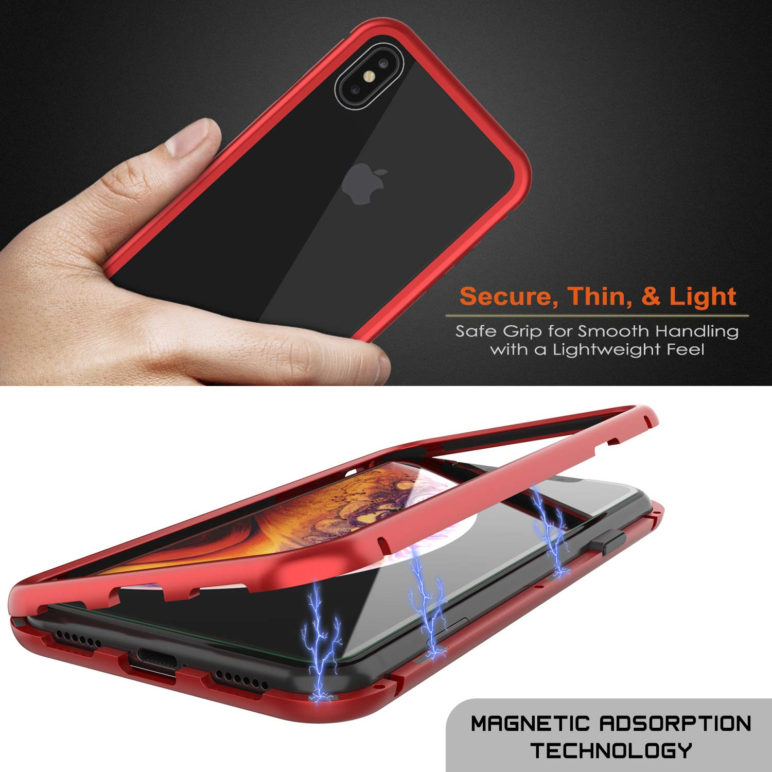 iPhone XS Max Case, Punkcase Magnetix 2.0 Protective TPU Cover W/ Tempered Glass Screen Protector [Red]