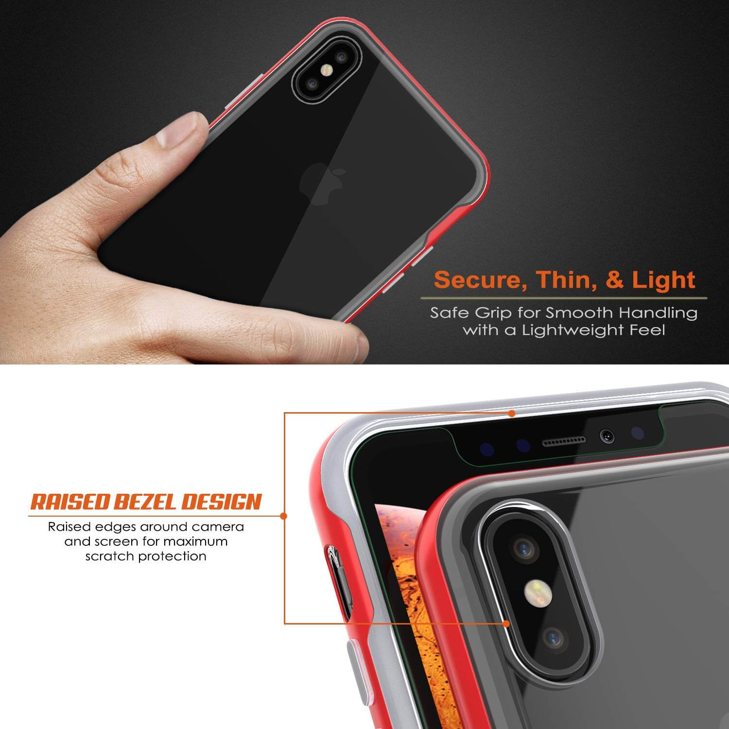 iPhone X Case, PUNKcase [LUCID 3.0 Series] [Slim Fit] Armor Cover w/ Integrated Screen Protector [Red]