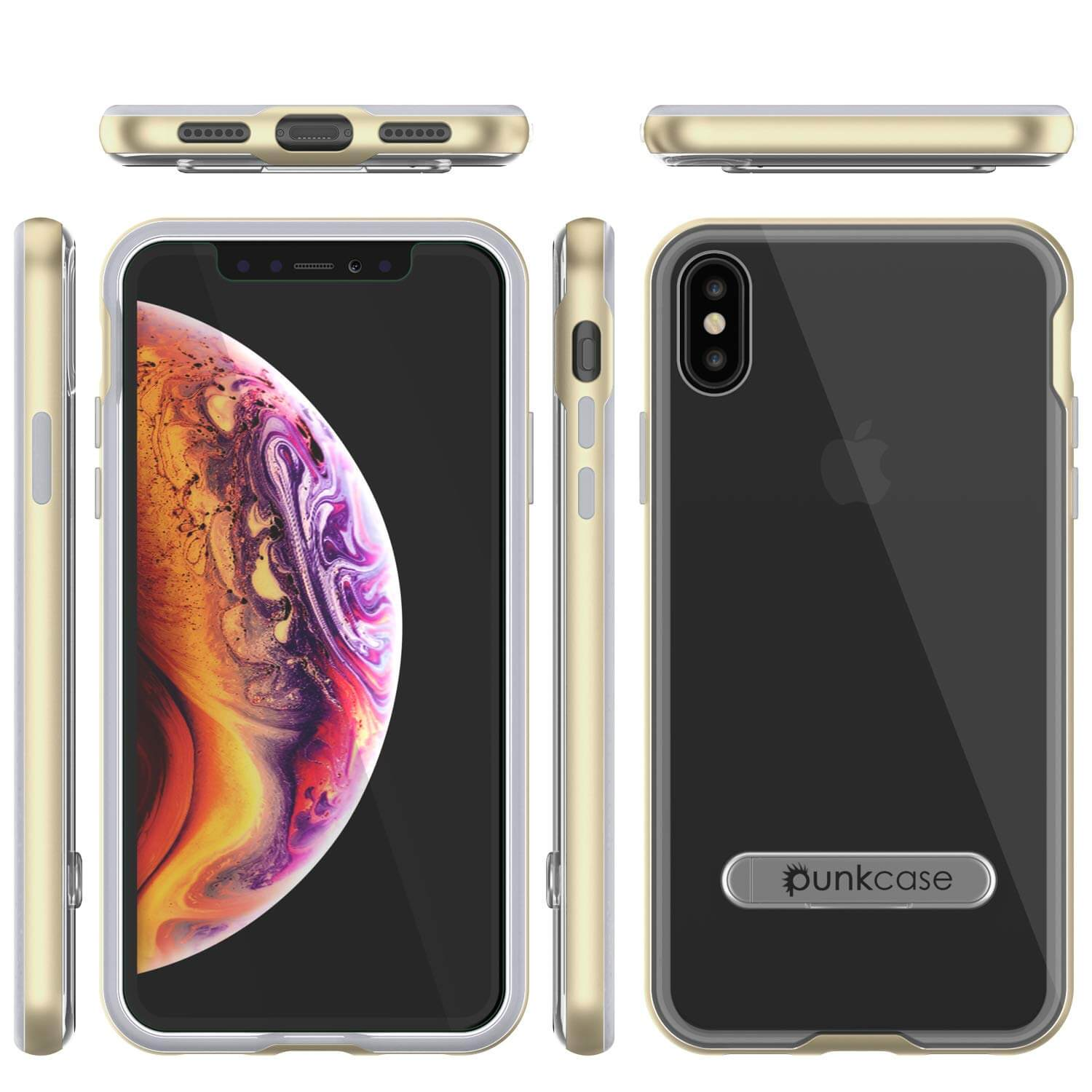 iPhone X Case, PUNKcase [LUCID 3.0 Series] [Slim Fit] Armor Cover w/ Integrated Screen Protector [Gold]