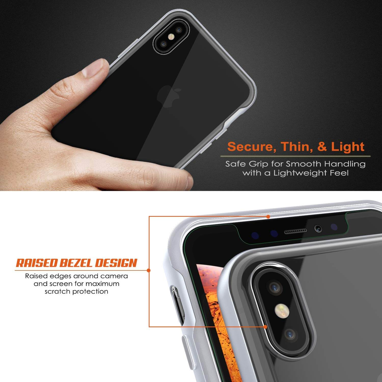 iPhone X Case, PUNKcase [LUCID 3.0 Series] [Slim Fit] Armor Cover w/ Integrated Screen Protector [Silver]