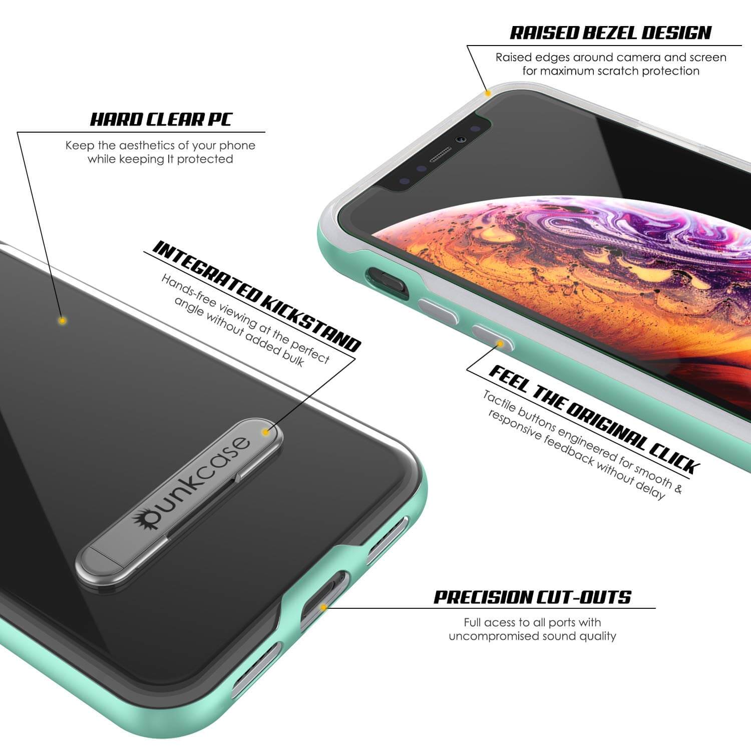 iPhone X Case, PUNKcase [LUCID 3.0 Series] [Slim Fit] Armor Cover w/ Integrated Screen Protector [Teal]