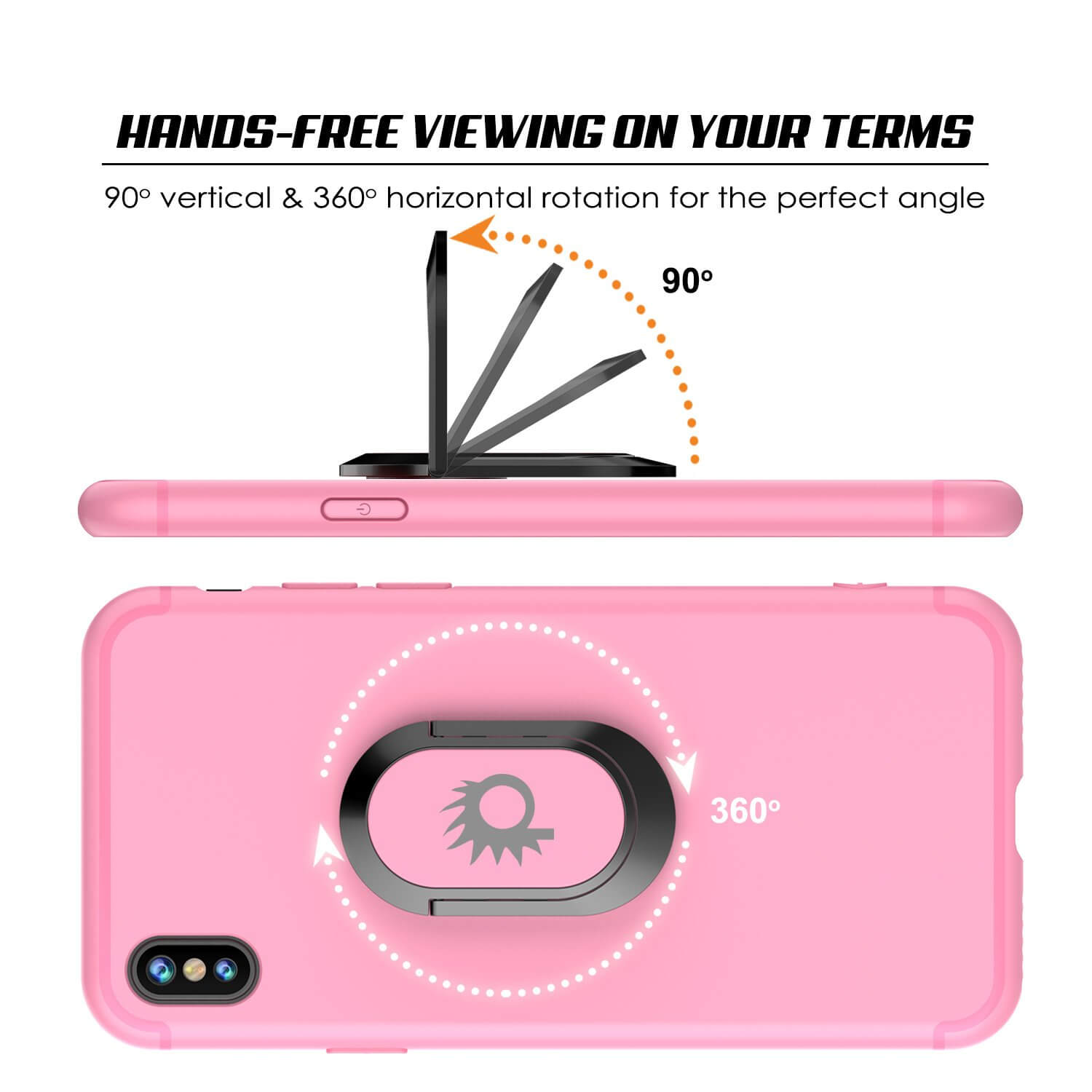 iPhone XS Case, Punkcase Magnetix Protective TPU Cover W/ Kickstand, Tempered Glass Screen Protector [Pink]
