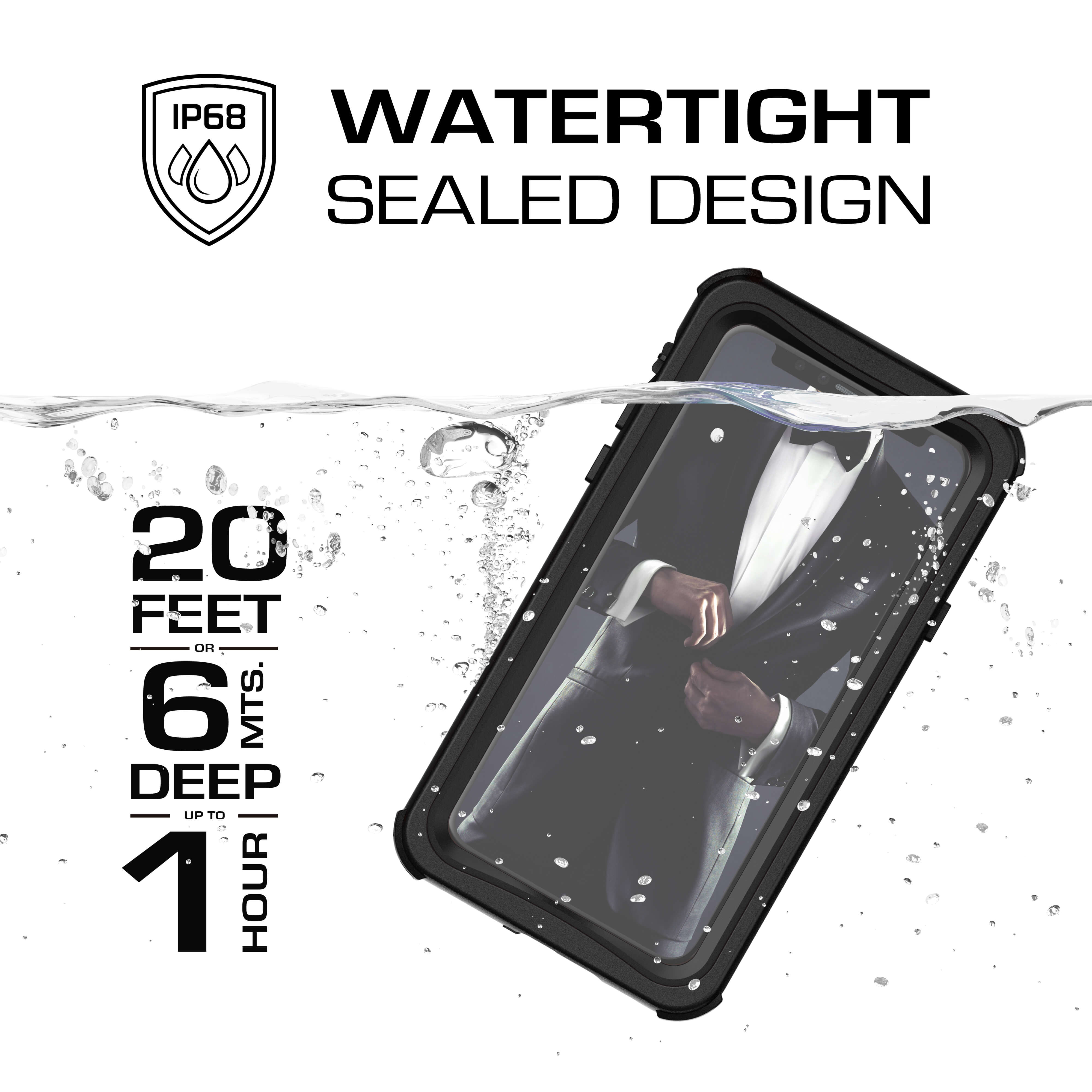 iPhone Xs  Case ,Ghostek Nautical Series  for iPhone Xs Rugged Heavy Duty Case |  BLACK