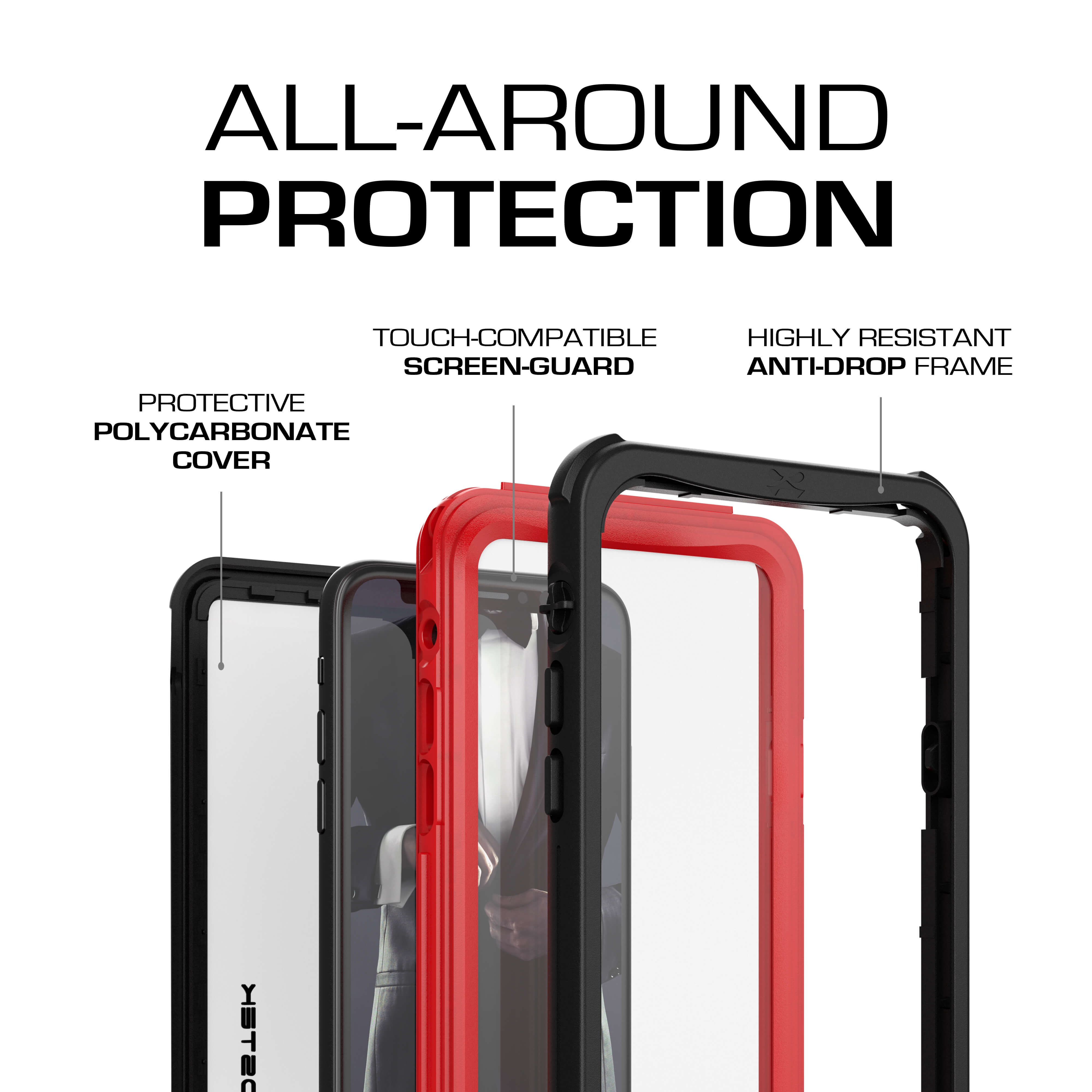 iPhone Xs  Case ,Ghostek Nautical Series  for iPhone Xs Rugged Heavy Duty Case |  RED