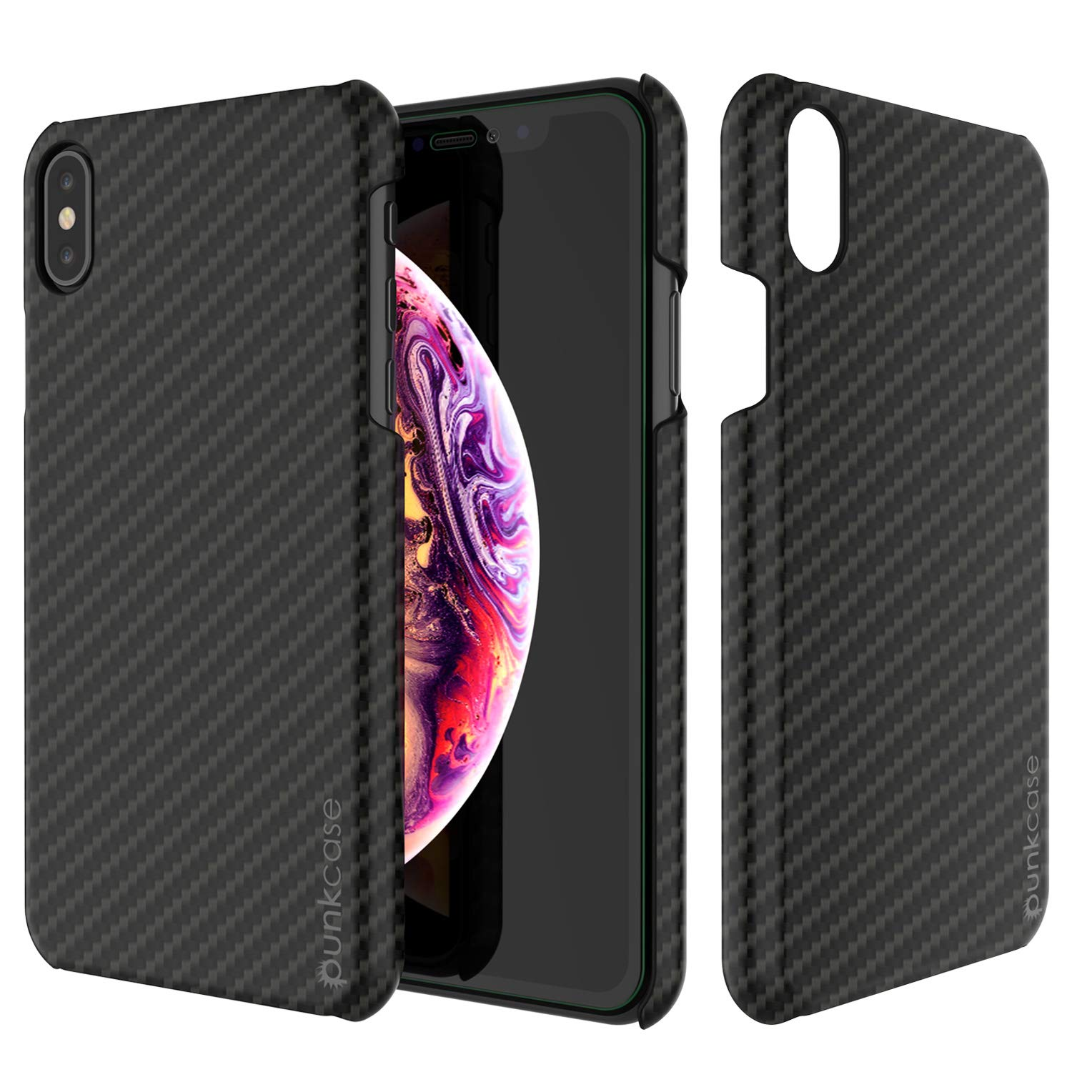iPhone XS Max Case, Punkcase CarbonShield, Heavy Duty & Ultra Thin 2 Piece Dual Layer [shockproof]