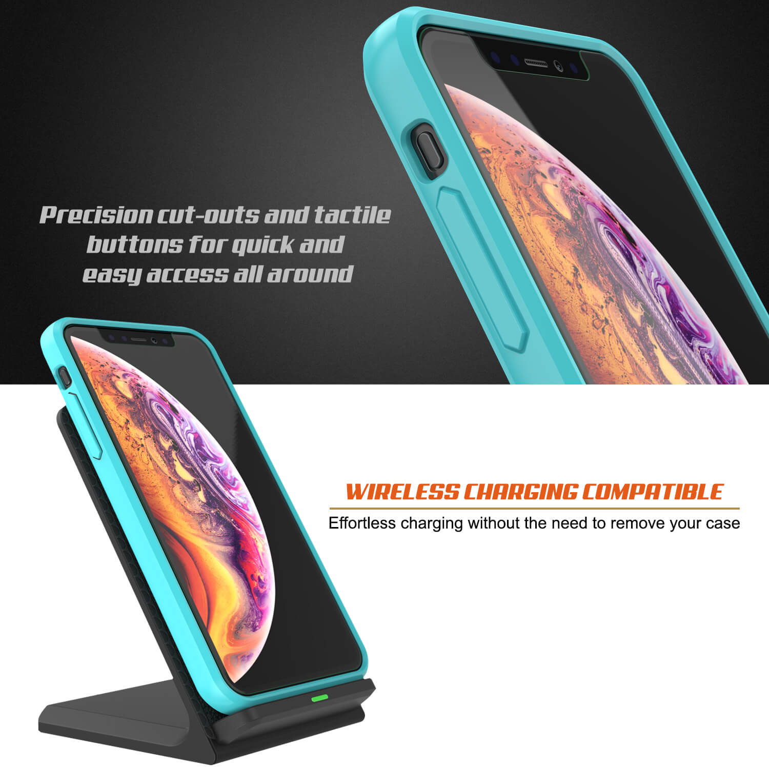 iPhone XS Max Case, PUNKcase [Lucid 2.0 Series] [Slim Fit] Armor Cover [Teal]