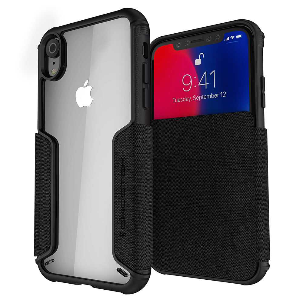 iPhone Xr Case, Ghostek Exec 3 Series for iPhone Xr / iPhone Pro Protective Wallet Case [BLACK]