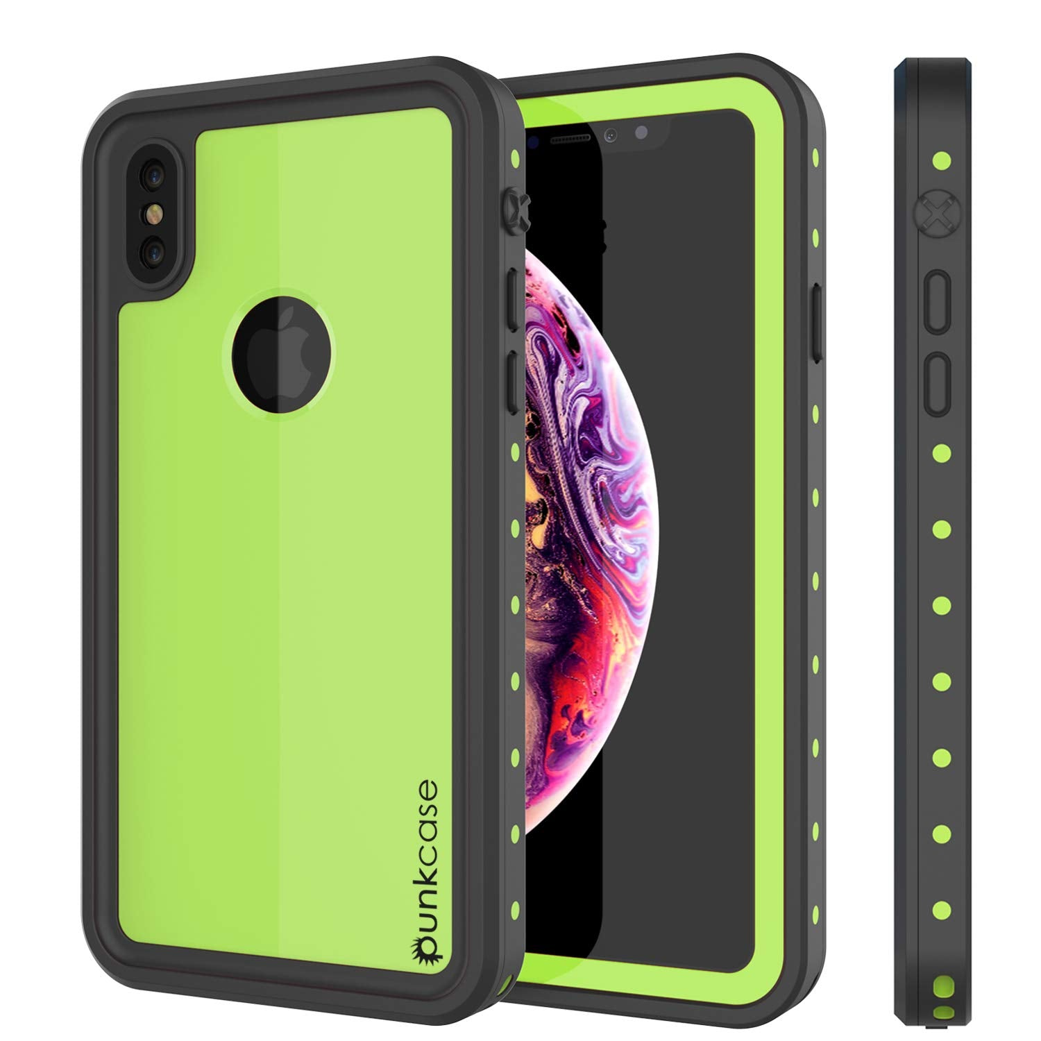 iPhone XS Max Waterproof IP68 Case, Punkcase [Light green] [StudStar Series] [Slim Fit] [Dirtproof]