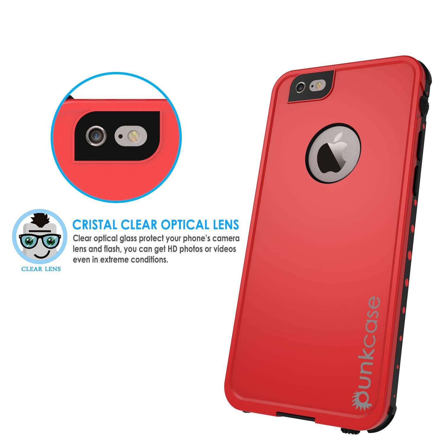 iPhone 6s/6  Waterproof Case, PunkCase StudStar Red w/ Attached Screen Protector | Lifetime Warranty
