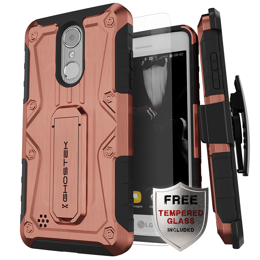 huge selection of b166f 9c8bc LG K8 2018 / Aristo 2 / Tribute Dynasty Rugged Heavy Duty Case | Iron Armor  Series [Rose]
