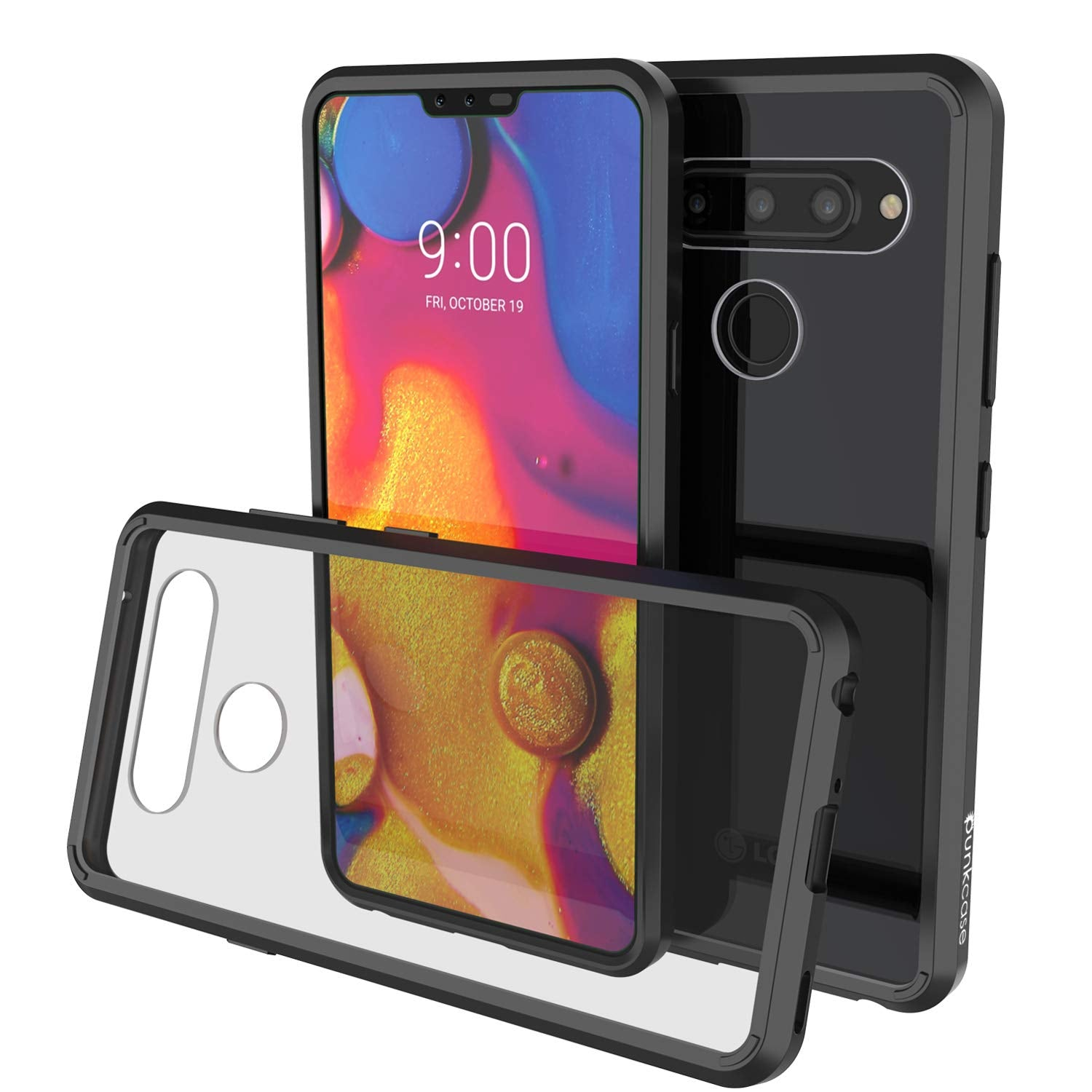 LG v40 Case Punkcase® LUCID 2.0 Black Series w/ PUNK SHIELD Glass Screen Protector | Ultra Fit