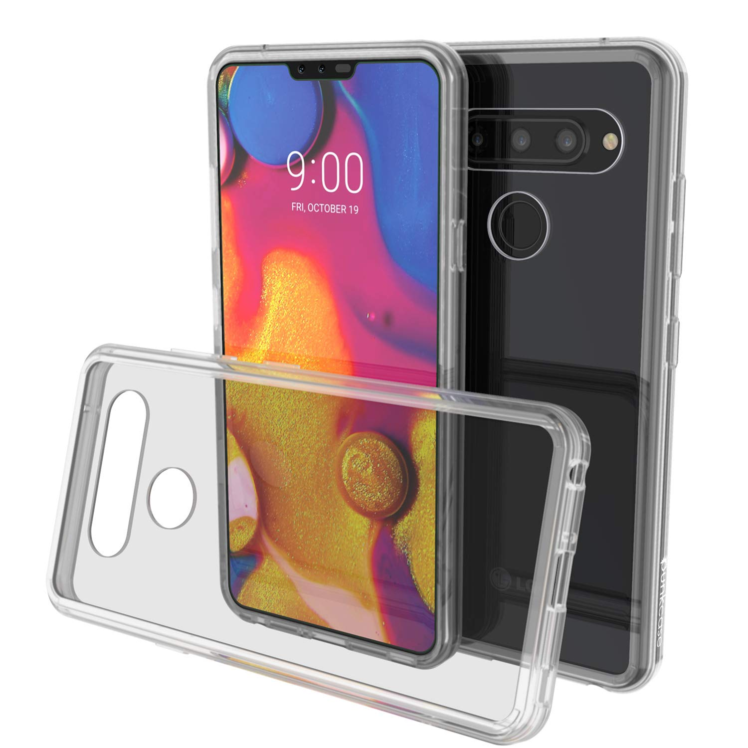 LG v40 Case Punkcase® LUCID 2.0 Clear Series w/ PUNK SHIELD Glass Screen Protector | Ultra Fit