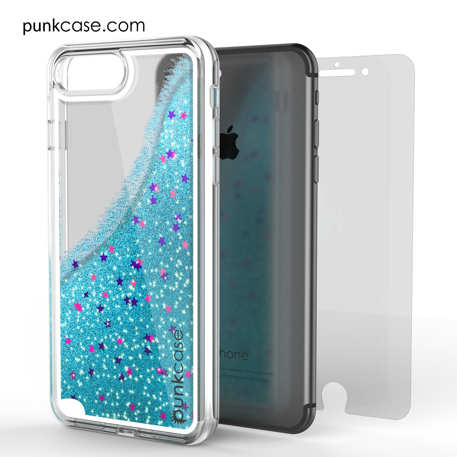 iPhone 7+Plus Case, PunkCase LIQUID Teal Series, Protective Dual Layer Floating Glitter Cover