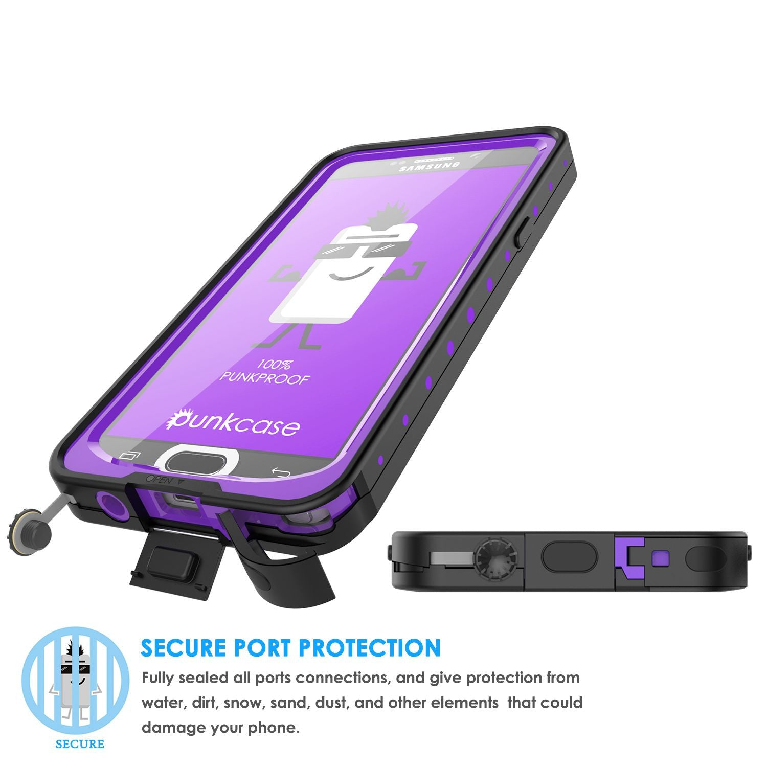 Galaxy Note 5 Waterproof Case, PunkCase StudStar Purple Shock/Dirt/Snow Proof | Lifetime Warranty