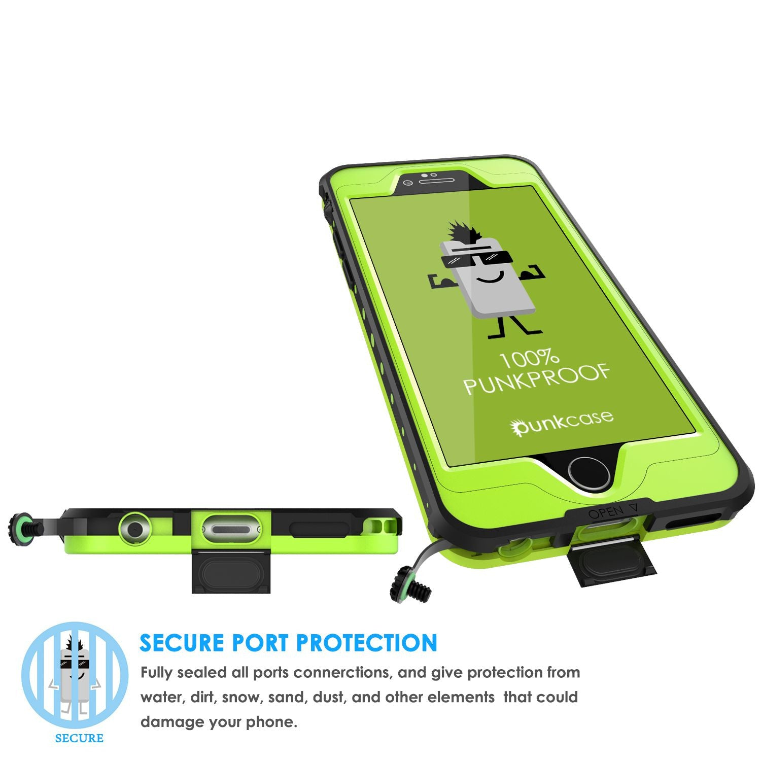 iPhone 6S/6  Waterproof Case PunkCase StudStar Light Green w/ Attached Screen Protector | Warranty