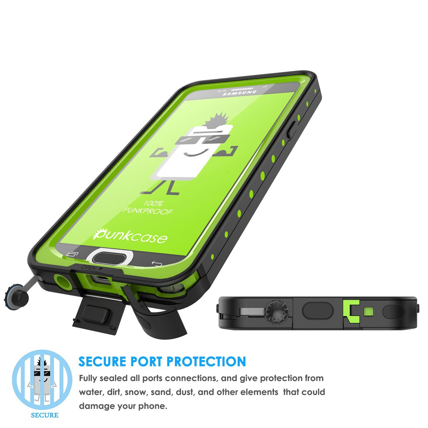 Galaxy Note 5 Waterproof Case, Punkcase StudStar Light Green Shock/Dirt Proof | Lifetime Warranty
