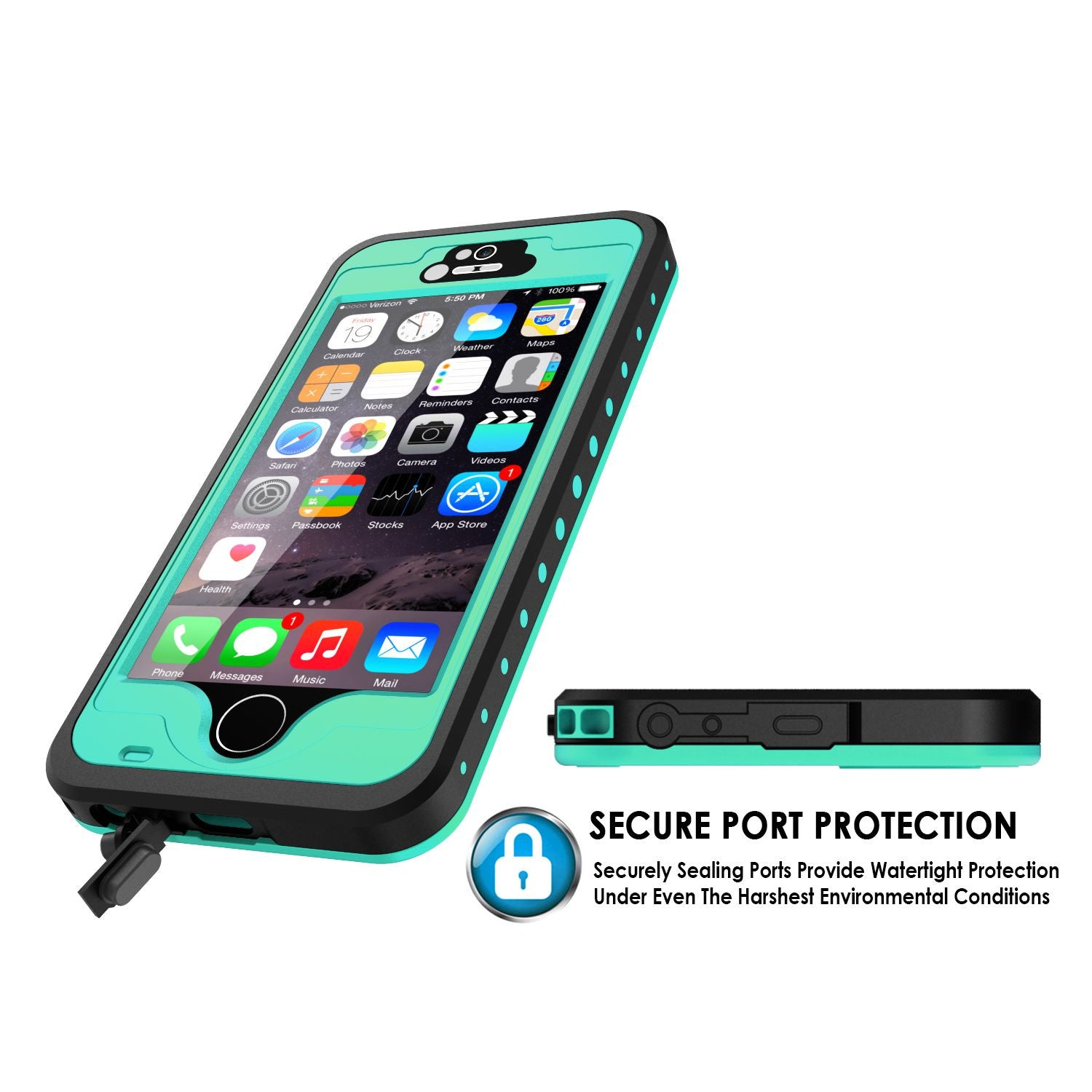 iPhone 5S/5 Waterproof Case, PunkCase StudStar Teal Case Water/Shock/Dirt Proof | Lifetime Warranty