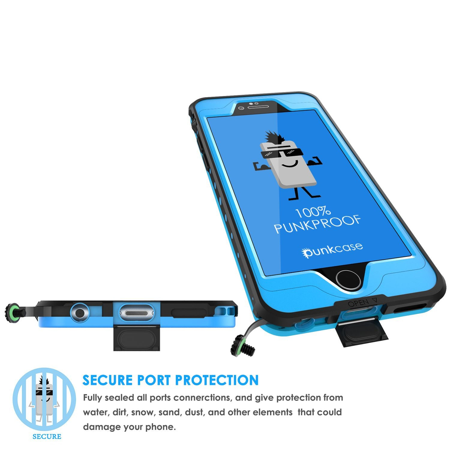 iPhone 6s/6 Waterproof Case, PunkCase StudStar Light Blue w/ Attached Screen Protector | Warranty